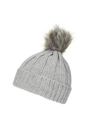 05f1bf7eb36 TOPSHOP Faux Fur Pom Beanie Hat in Gray - Lyst