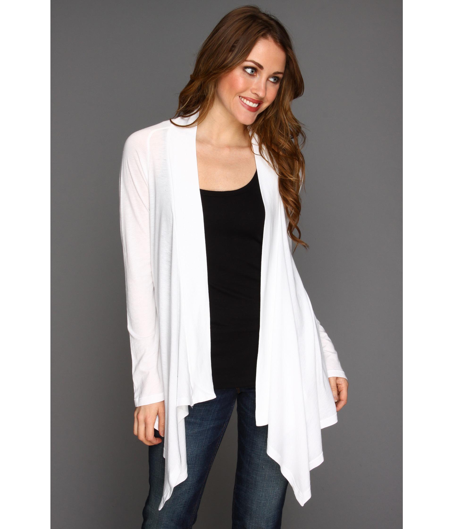Splendid Very Light Jersey Drape Cardigan In White