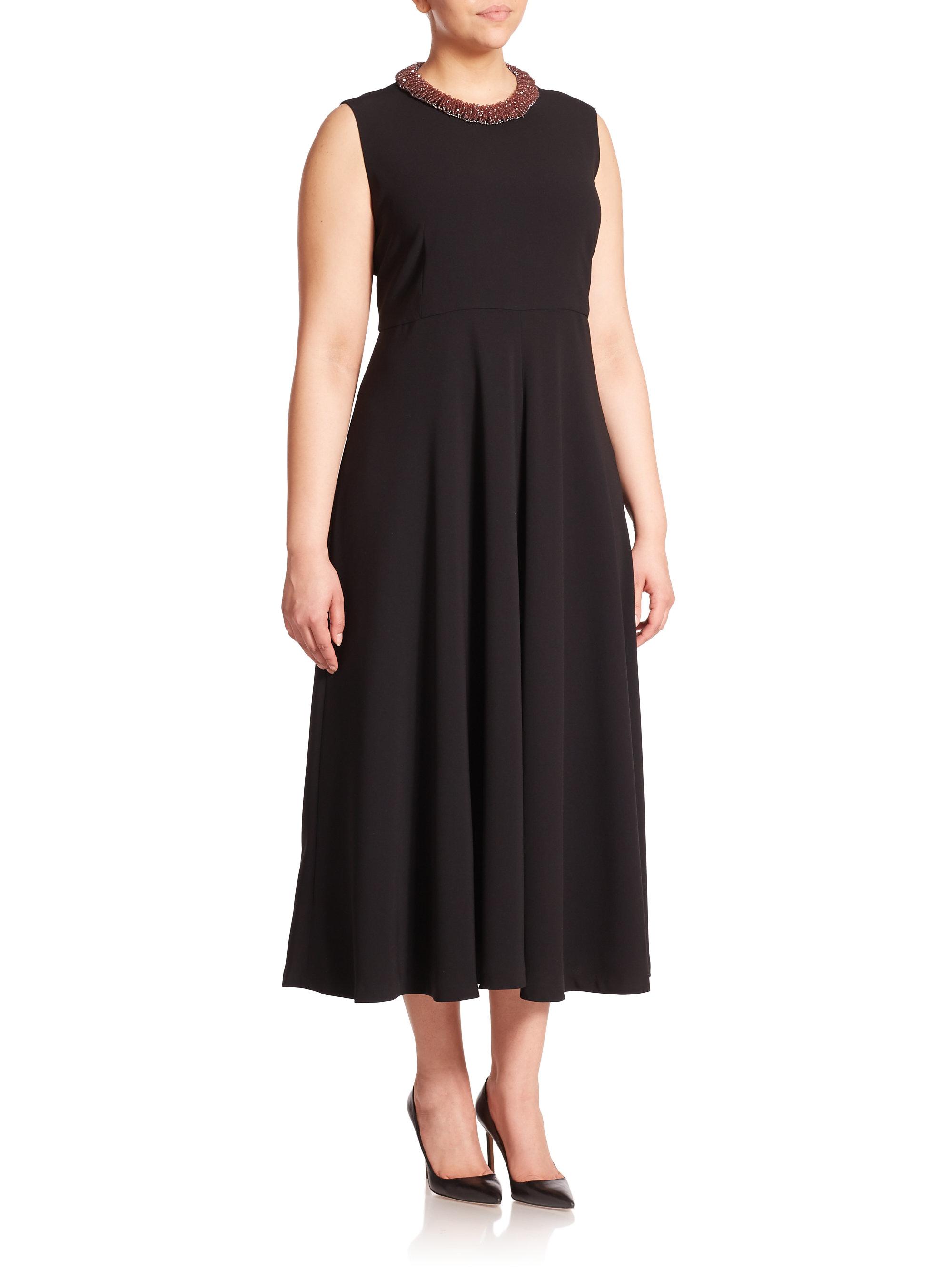 Marina Rinaldi Duca Fit And Flare Midi Dress In Black Lyst