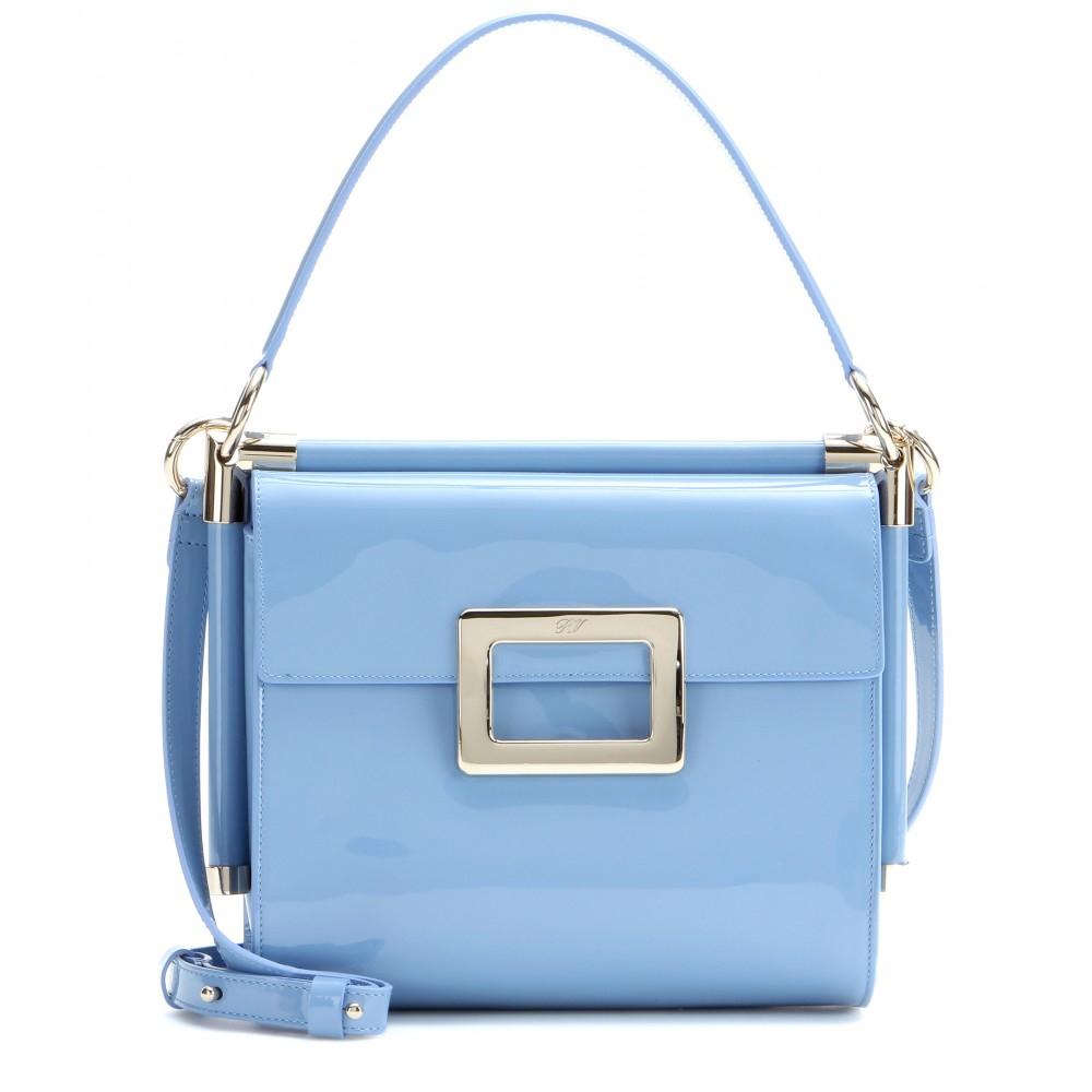 Lyst - Roger Vivier Miss Viv Small Patent-leather Shoulder Bag in Blue d485181836393