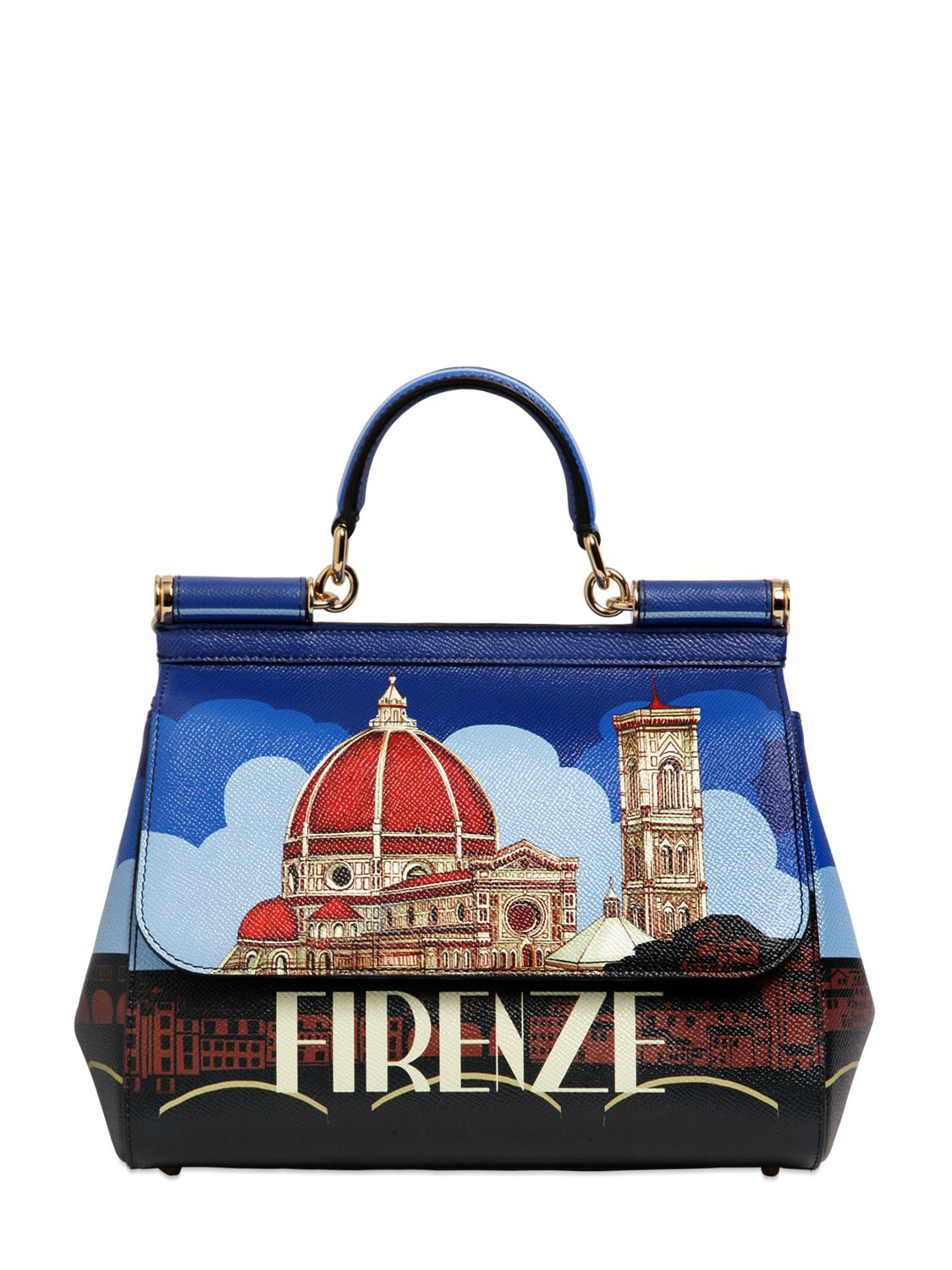 be8bec16aa Lyst - Dolce   Gabbana Sicily Firenze Printed Leather Bag in Blue