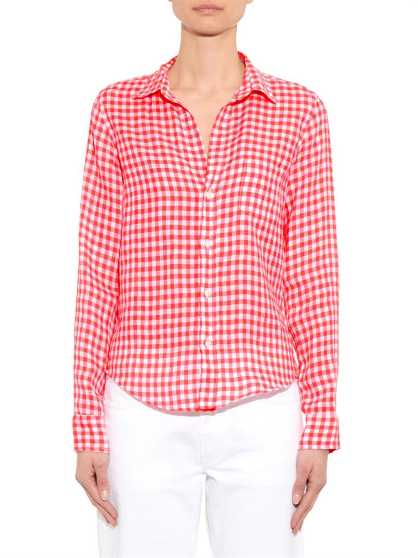 Frank amp Eileen Barry Gingham Linen Shirt in Pink Lyst