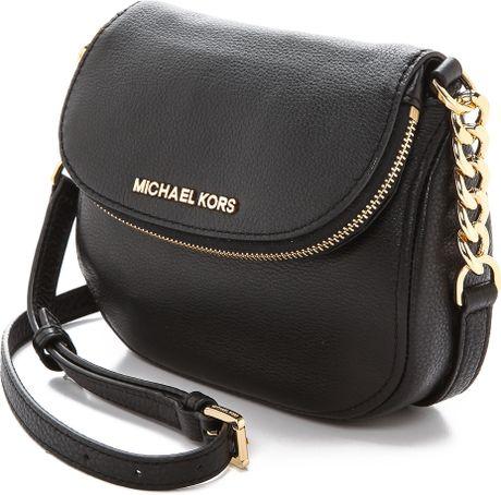 michael michael kors bedford flap cross body bag luggage in black. Black Bedroom Furniture Sets. Home Design Ideas