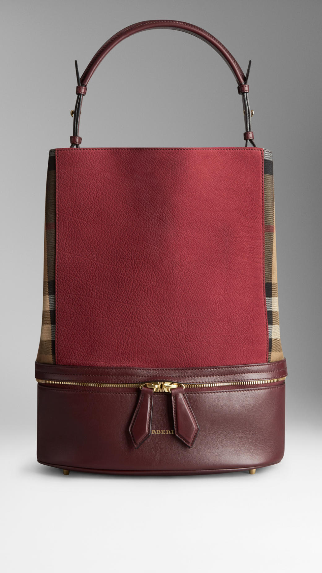 Burberry Medium House Check and Leather Bucket Bag in Red ...