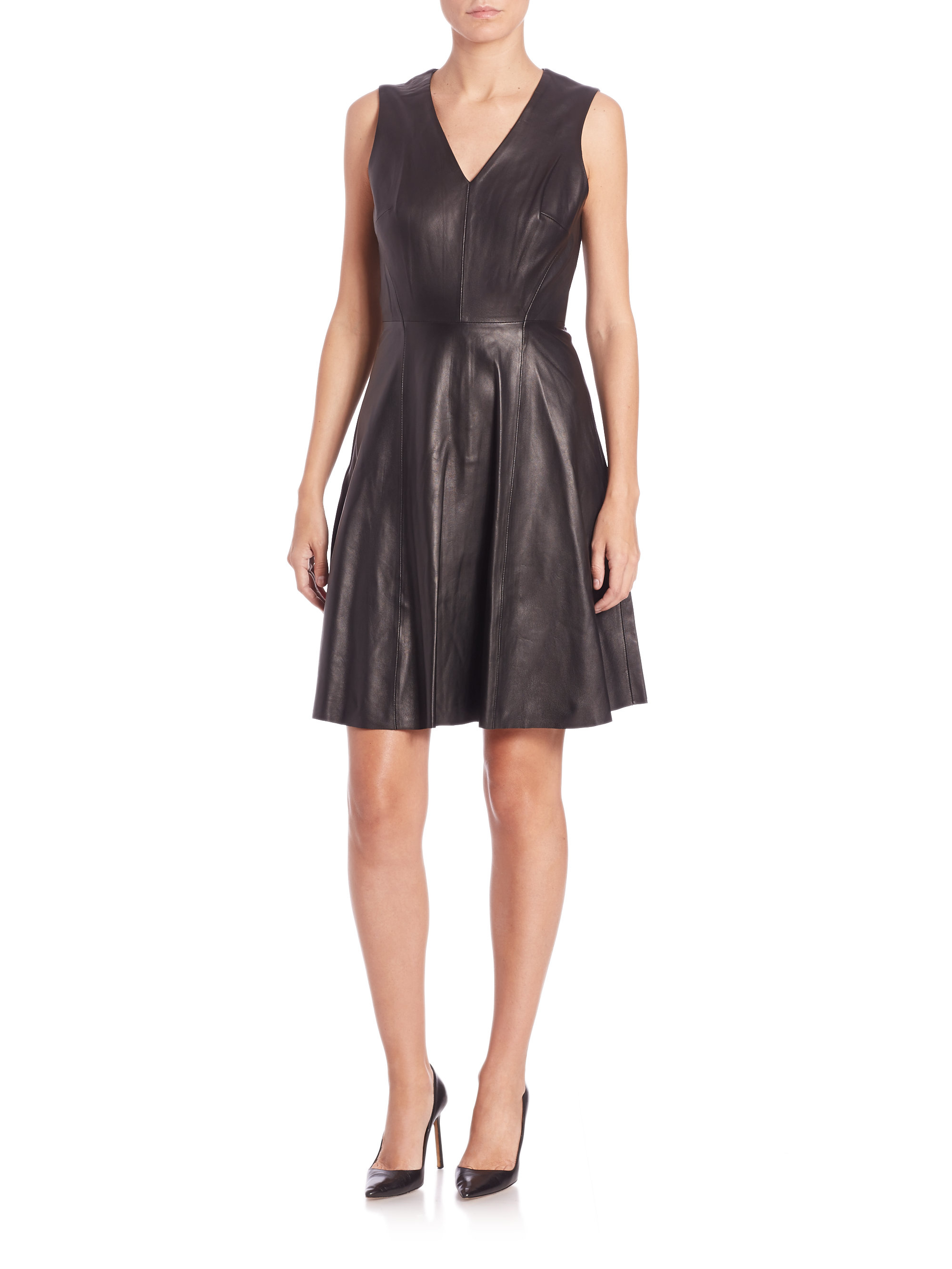saks fifth avenue leather a line dress in black lyst