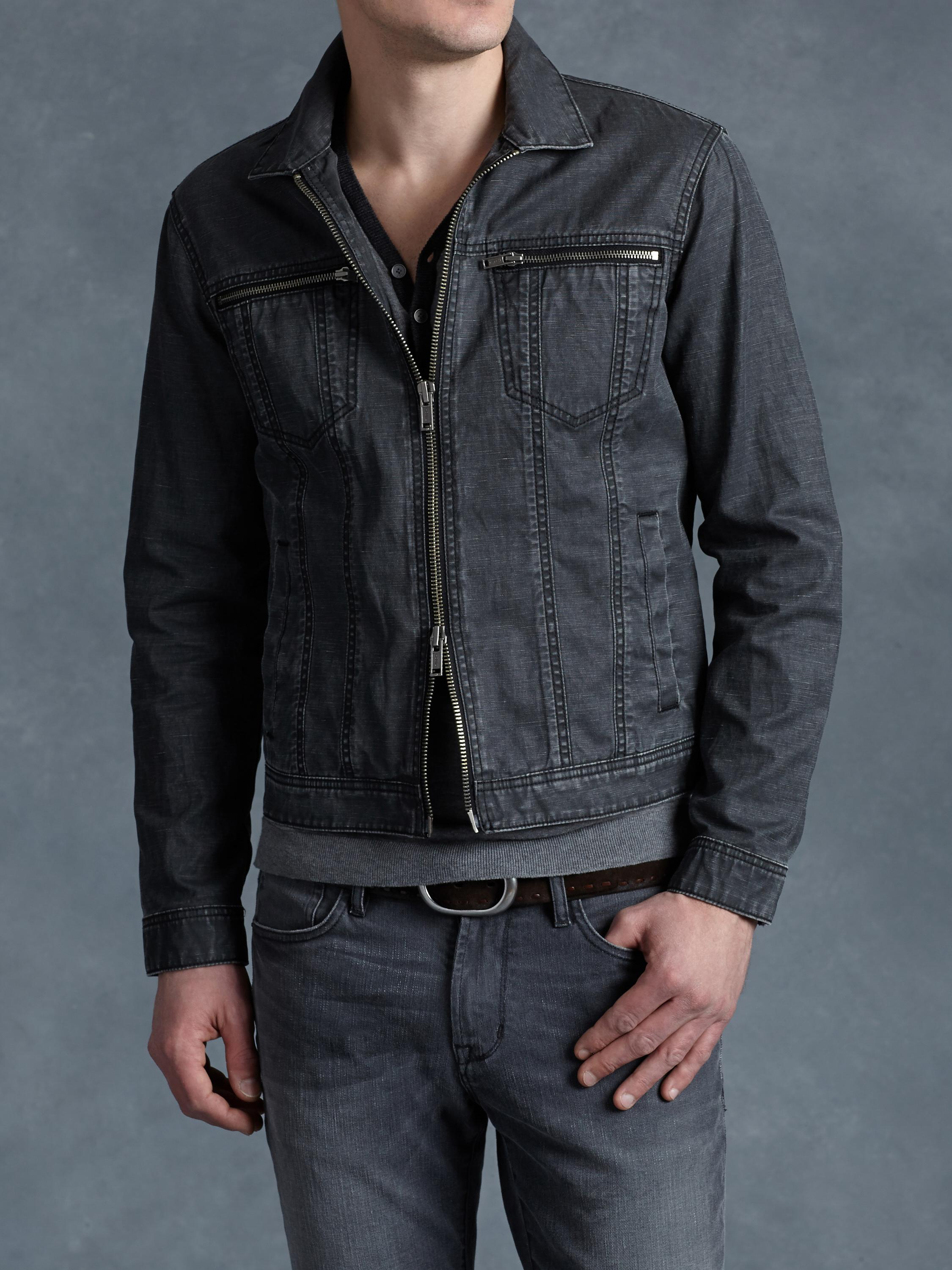 John Varvatos Coated Denim Jacket In Blue For Men Lyst