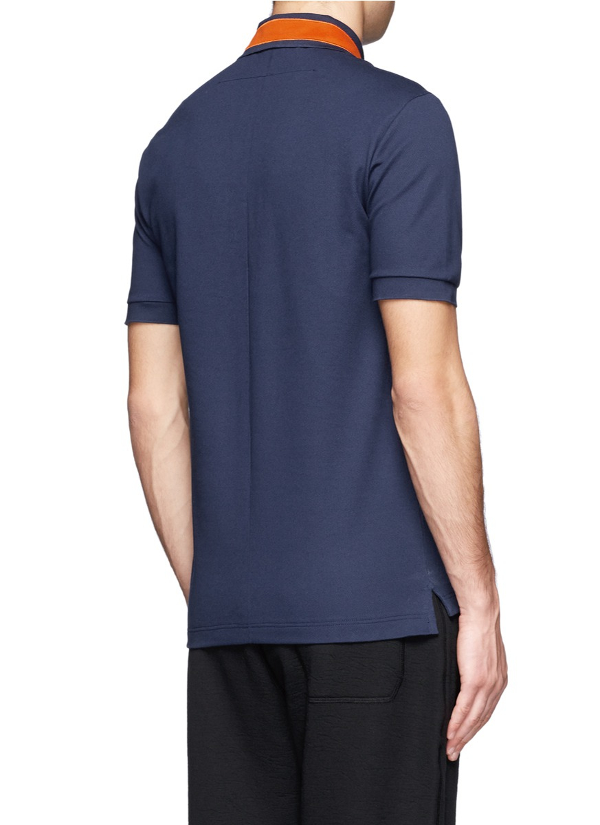 a64237010b107 Lyst - Givenchy Star-appliqué Cotton-piqué Polo Shirt in Blue for Men