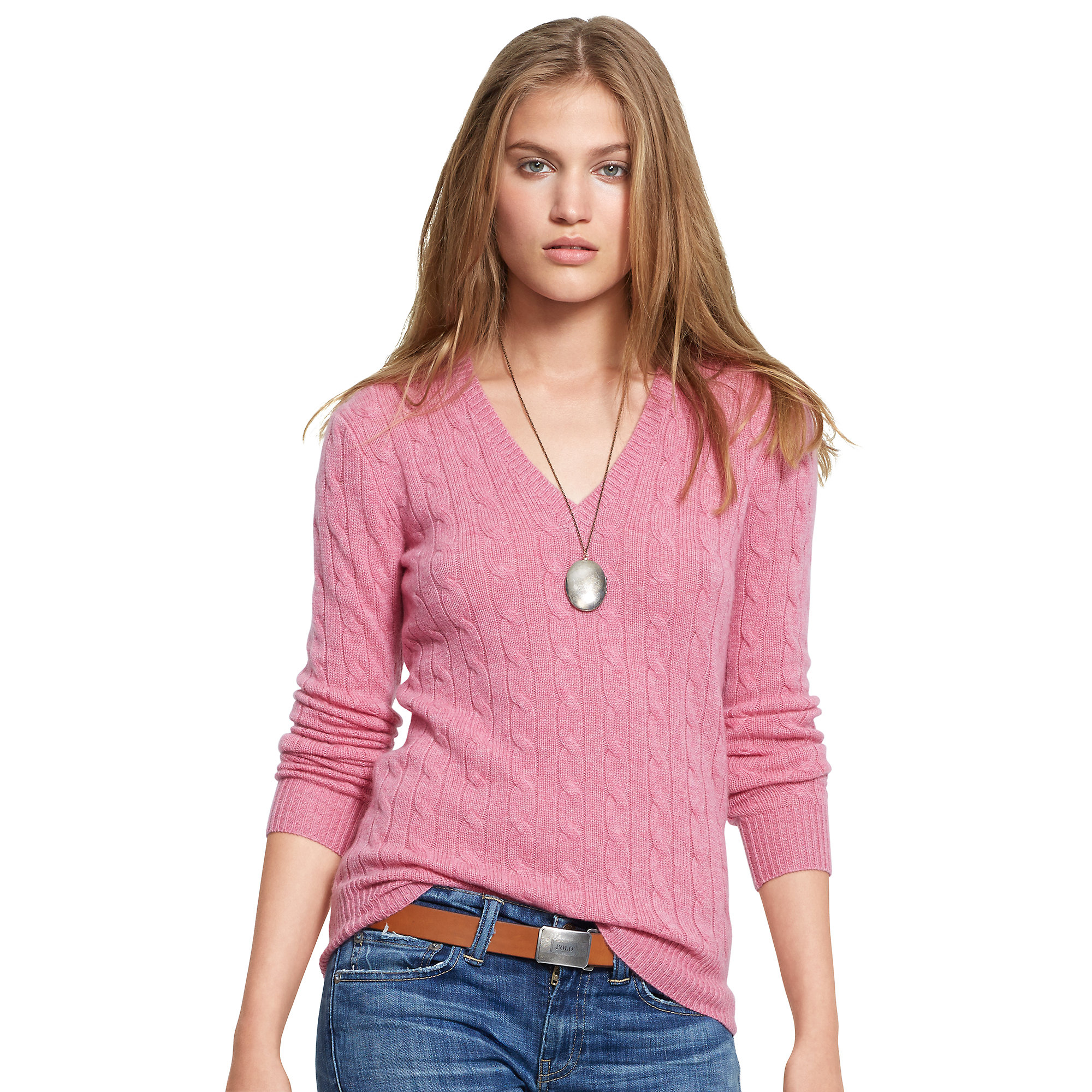 Polo Ralph Lauren Cable Cashmere V Neck Sweater In Pink Lyst
