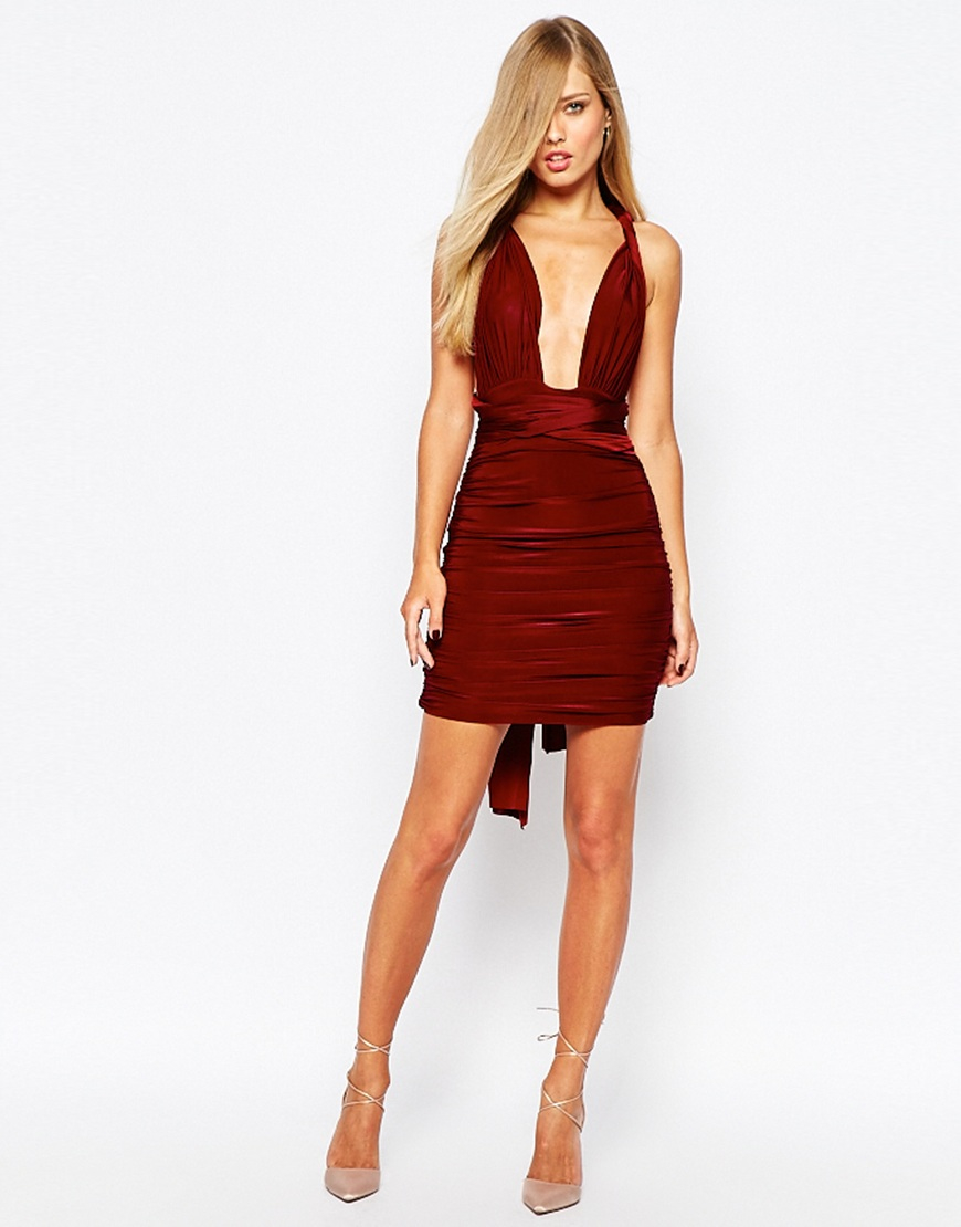 98e9c7d7d35 Missguided Multiway Slinky Bodycon Mini Dress in Red - Lyst