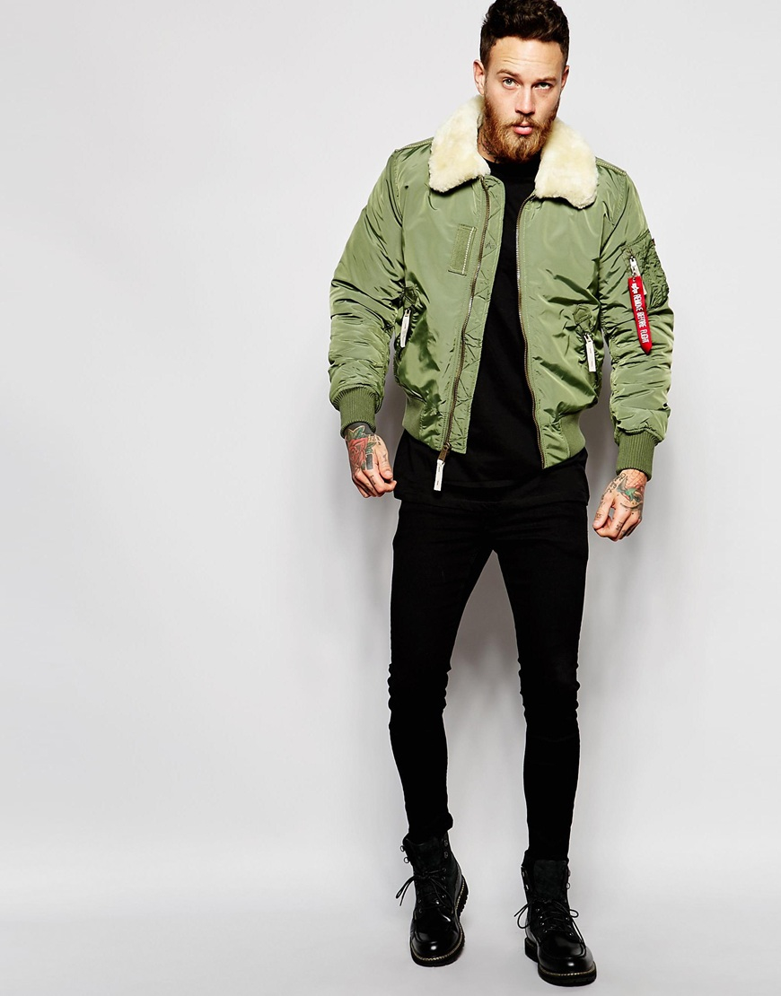 Alpha Industries Shearling Trimmed Bomber Jacket In Green For Men Lyst