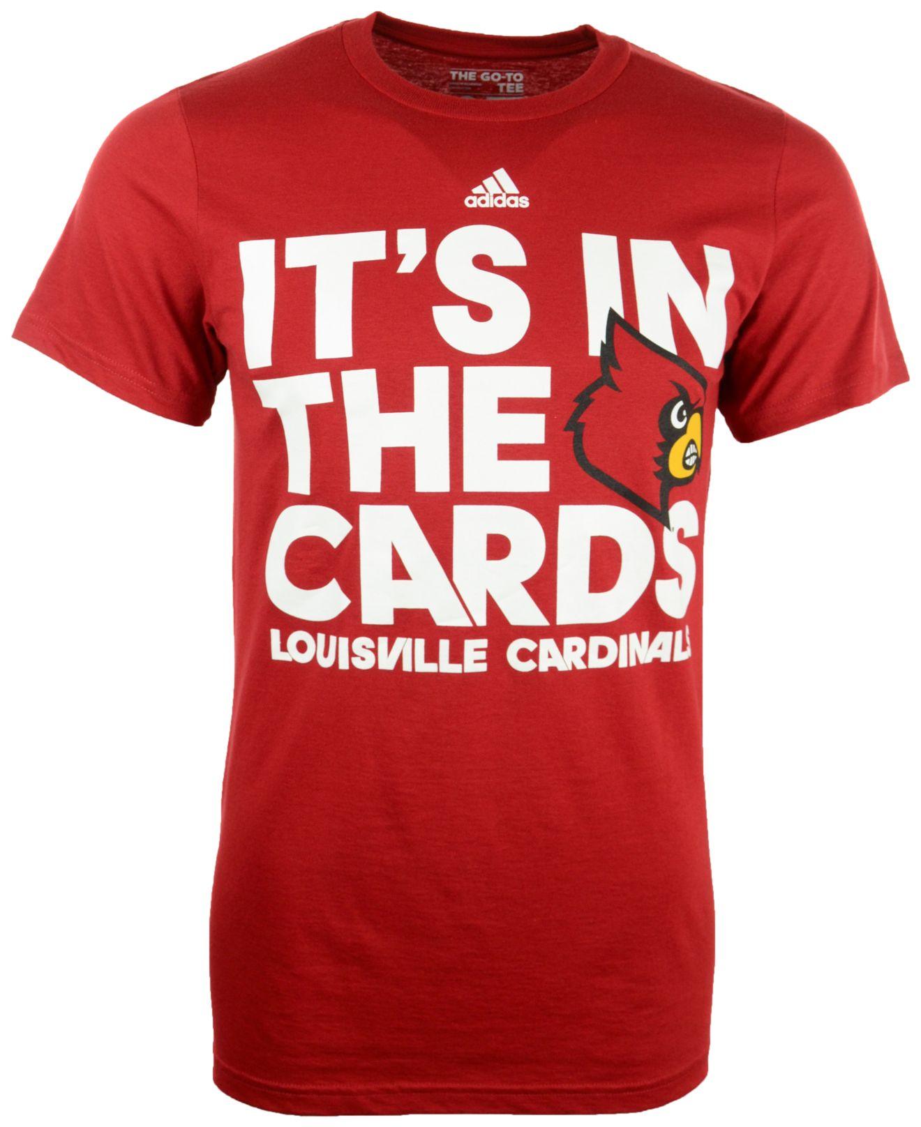 Lyst adidas men 39 s louisville cardinals motto t shirt in for Louisville t shirt printing