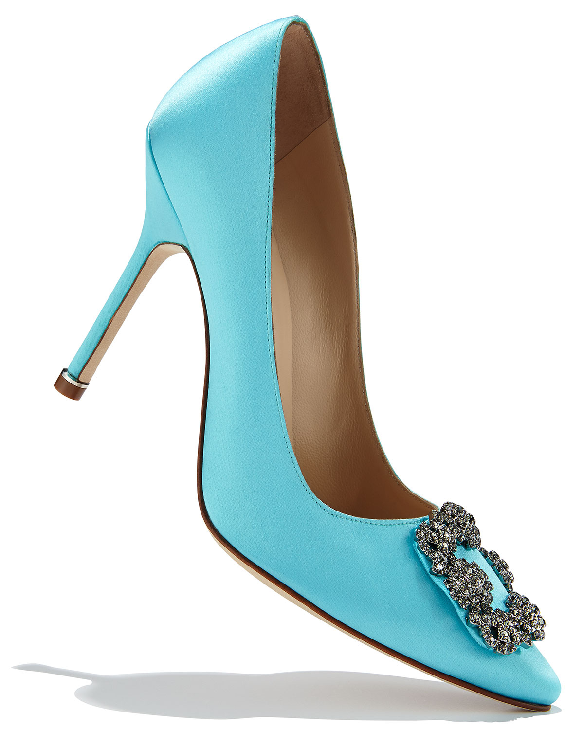 Lyst manolo blahnik hangisi satin pump in blue for Who is manolo blahnik