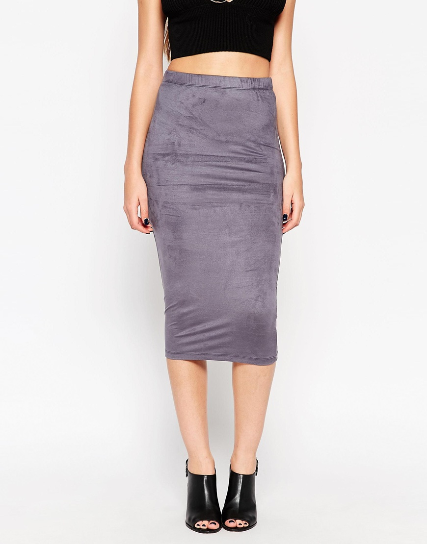 asos midi pencil skirt in faux suede in gray grey lyst
