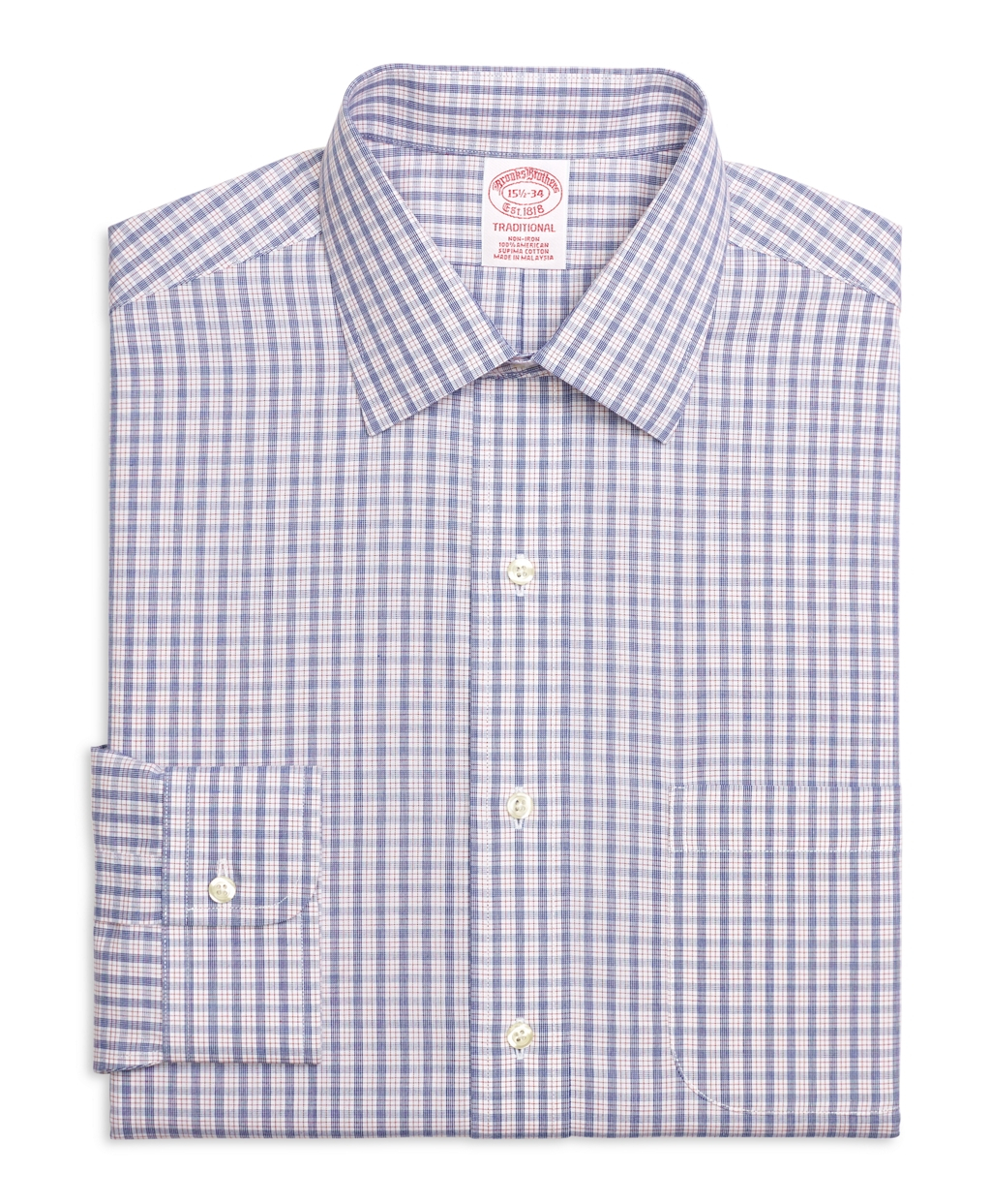 Brooks brothers non iron madison fit hairline check dress for Brooks brothers dress shirt fit guide