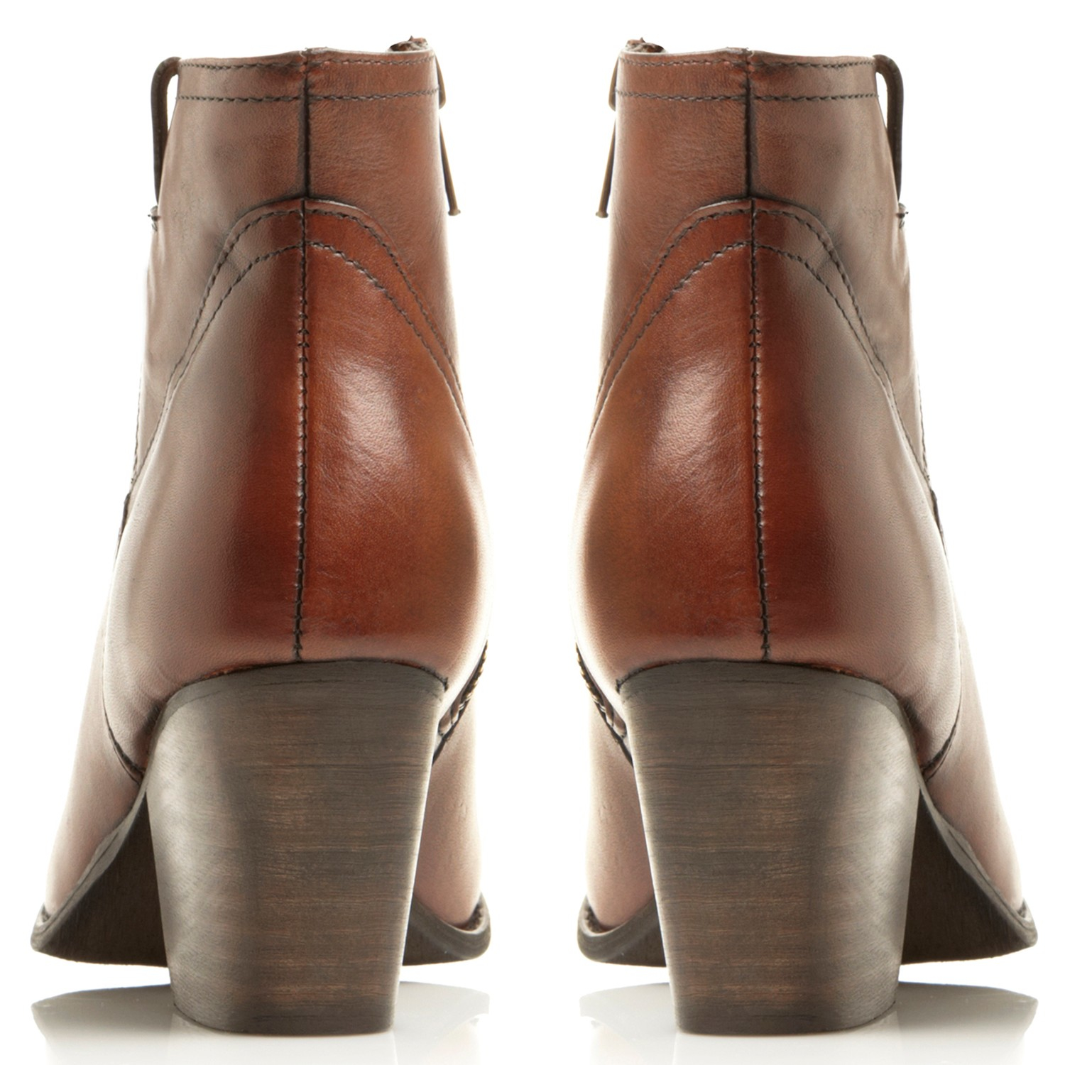 Steve Madden Denim Sogood Block Heeled Western Style Ankle Boots in Tan Leather (Brown)