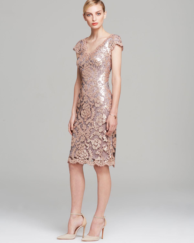 Lyst - Tadashi Shoji Dress - V Neck Cap Sleeve Sequin in Metallic
