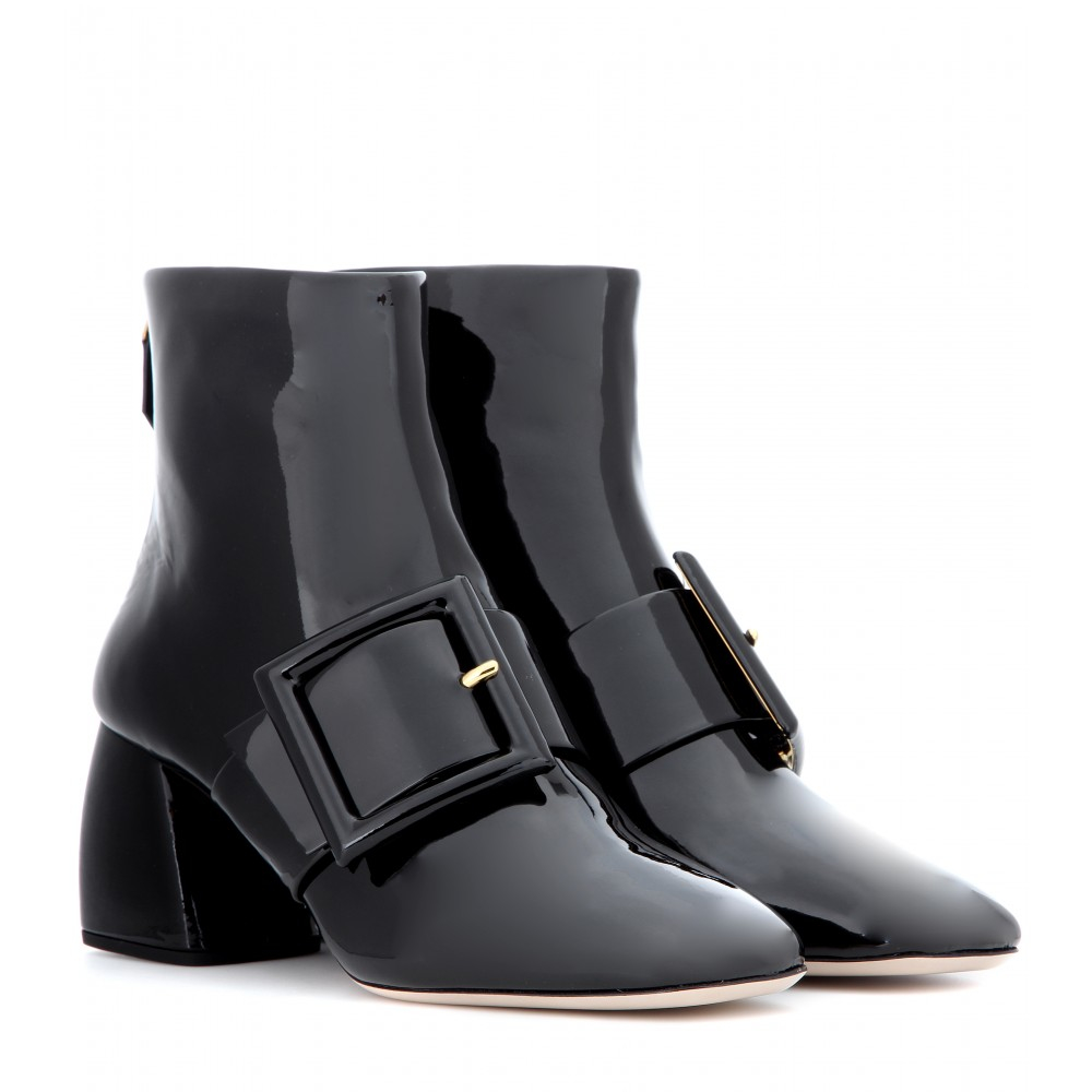 miu miu patent leather ankle boots in black lyst