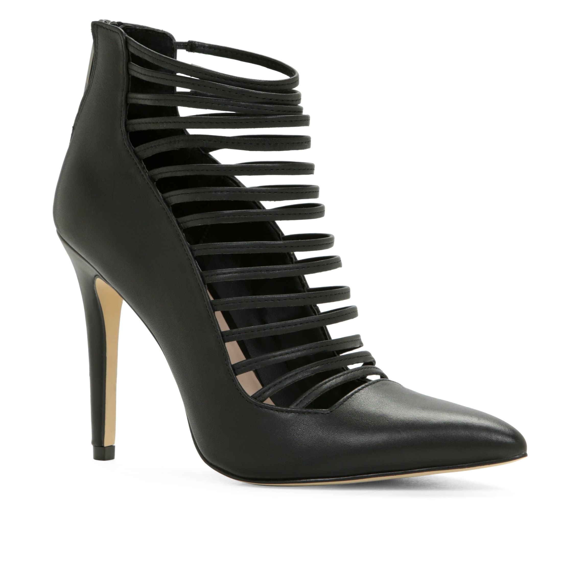 aldo astevia high heel caged shoe boots in black lyst