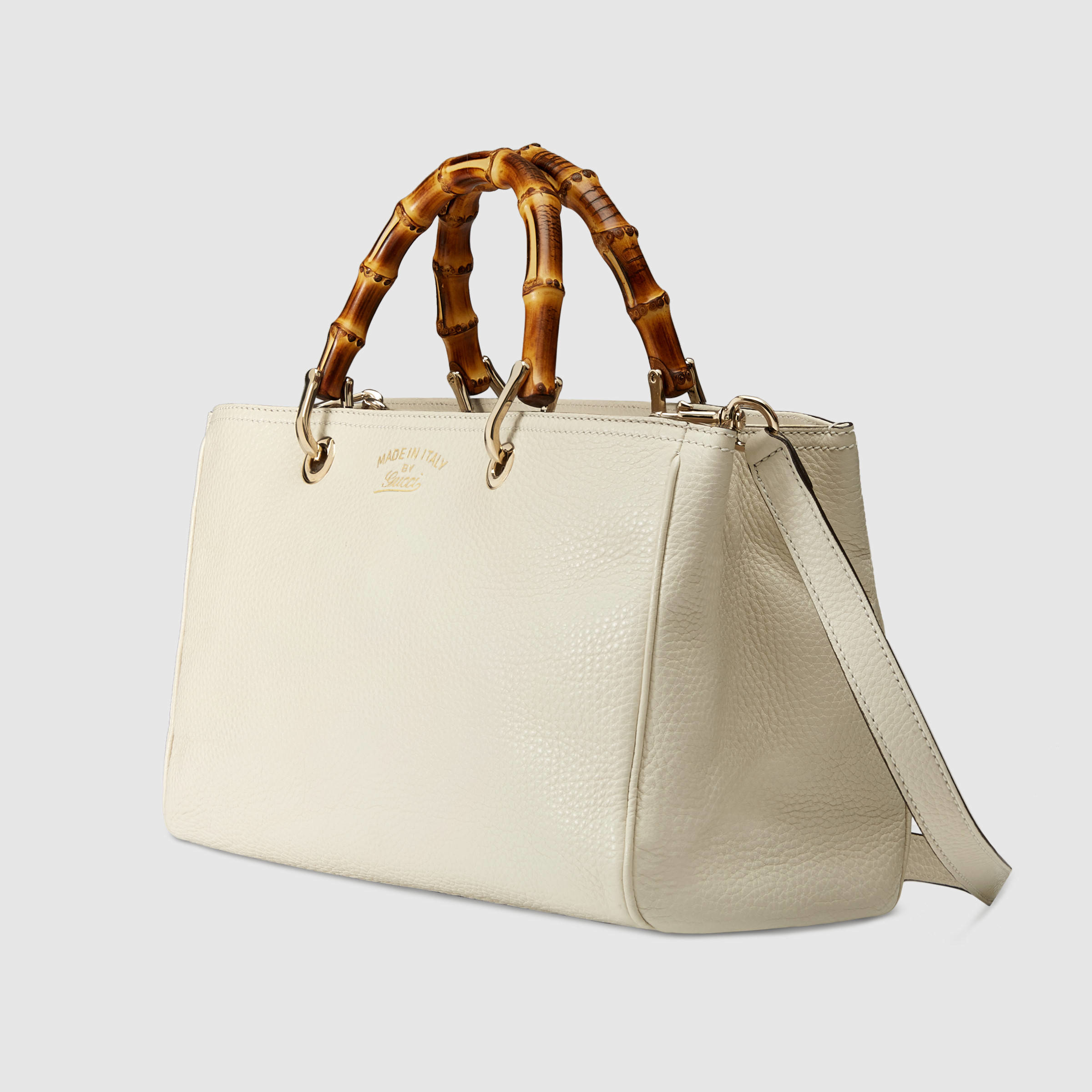 gucci bamboo shopper leather tote in white lyst. Black Bedroom Furniture Sets. Home Design Ideas