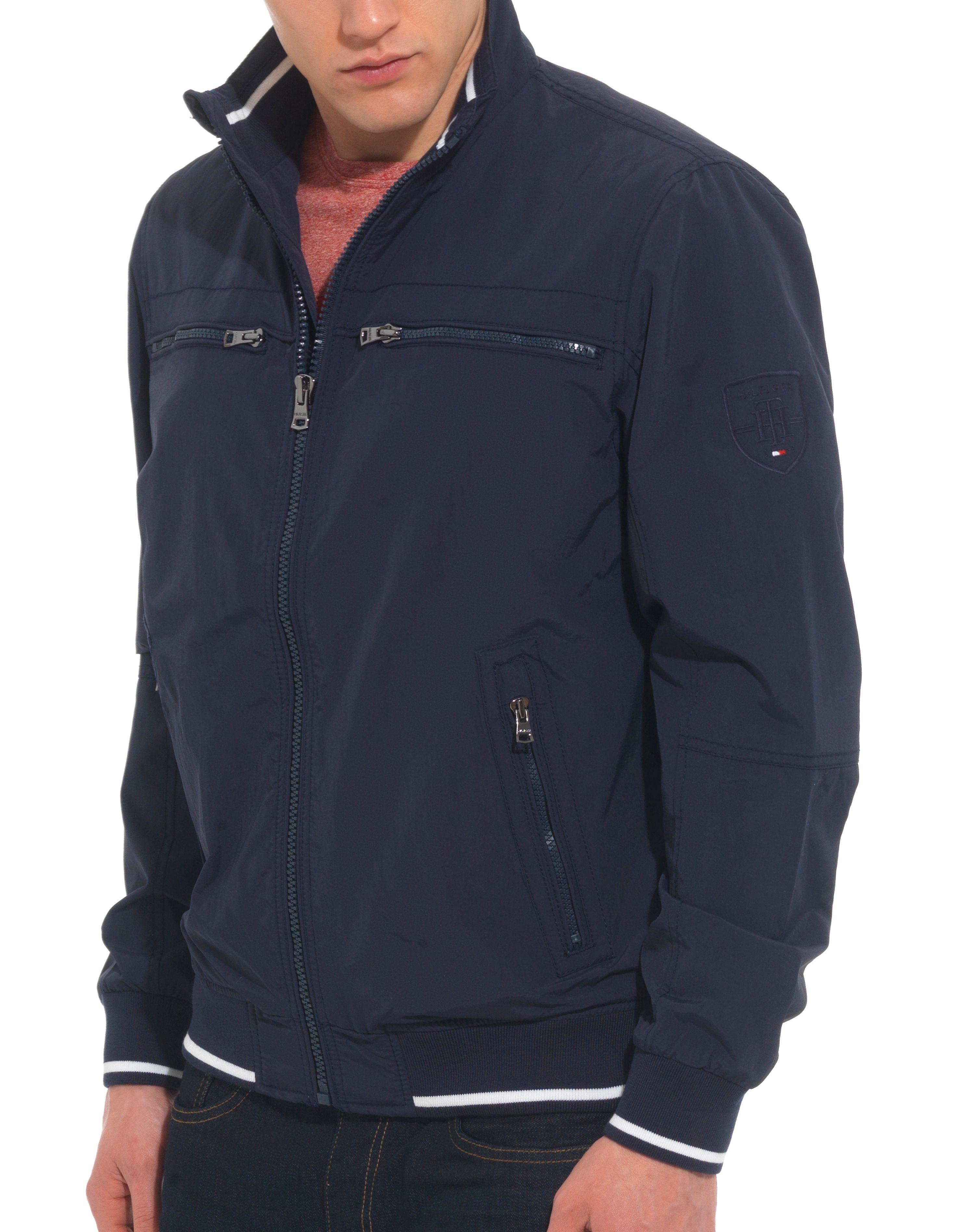 tommy hilfiger matt casual bomber jacket in blue for men. Black Bedroom Furniture Sets. Home Design Ideas