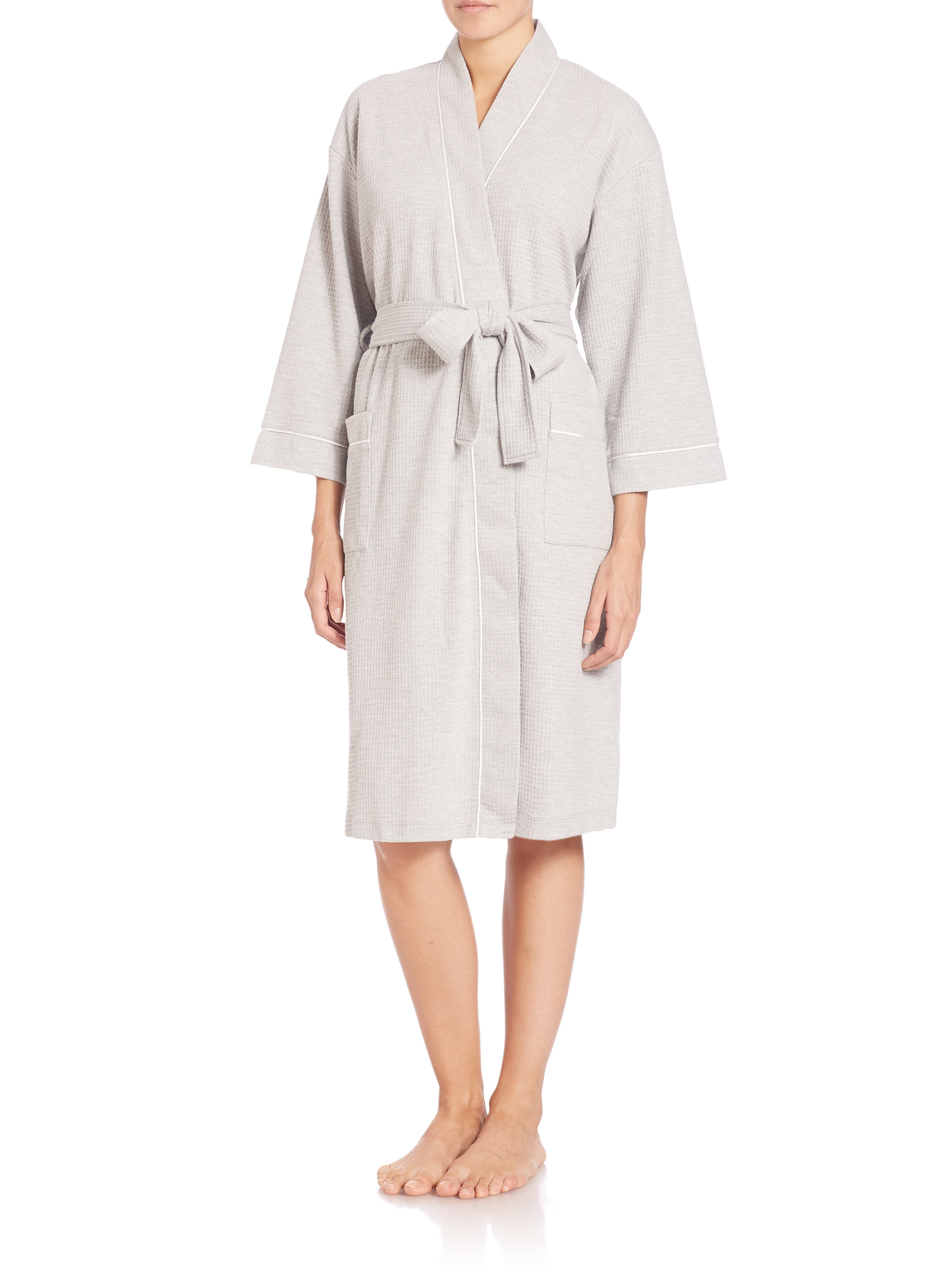 saks fifth avenue waffle knit wrap robe in gray lyst ForSaks 5th Avenue Robes De Mariage