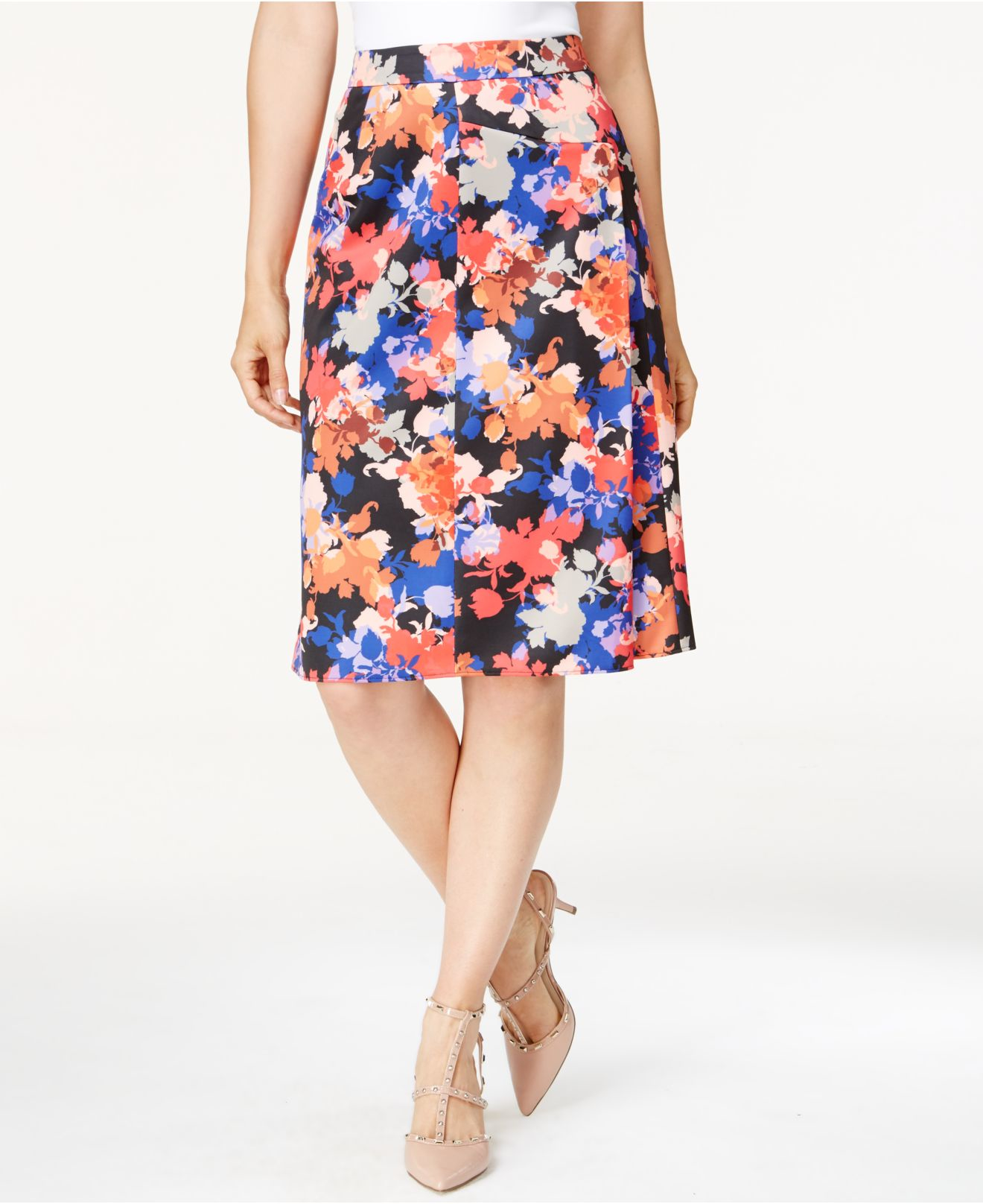 cece by cynthia steffe floral print a line skirt lyst