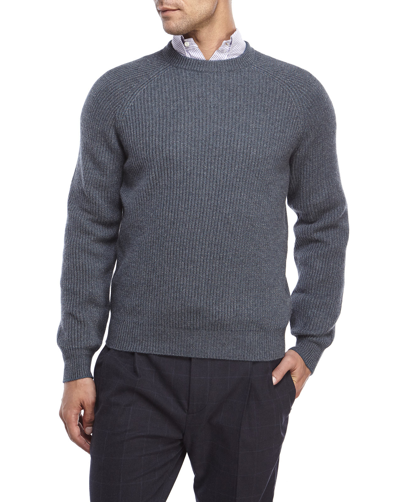 Brunello cucinelli Two-Tone Ribbed Cashmere Sweater in Gray for ...