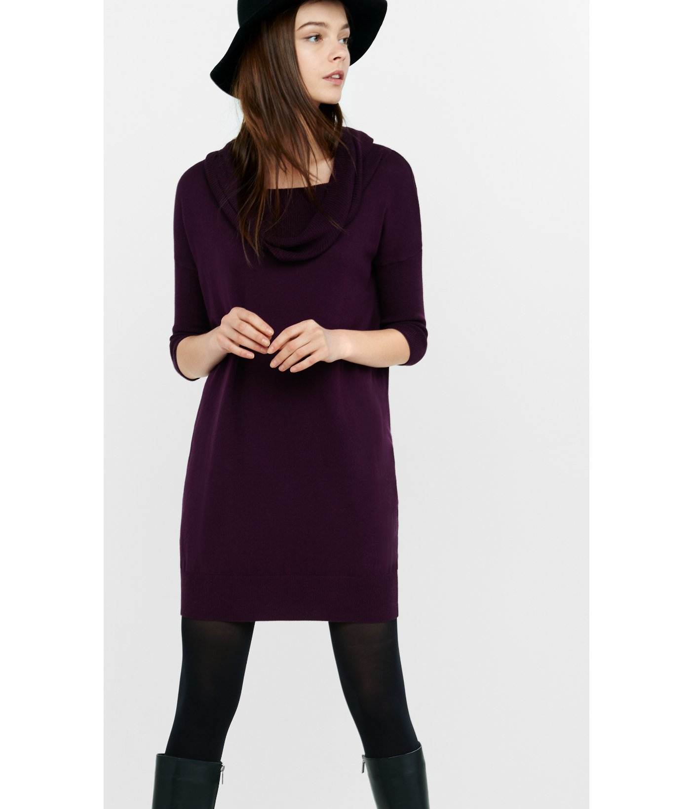 Express Banded Bottom Cowl Neck Sweater Dress in Purple | Lyst