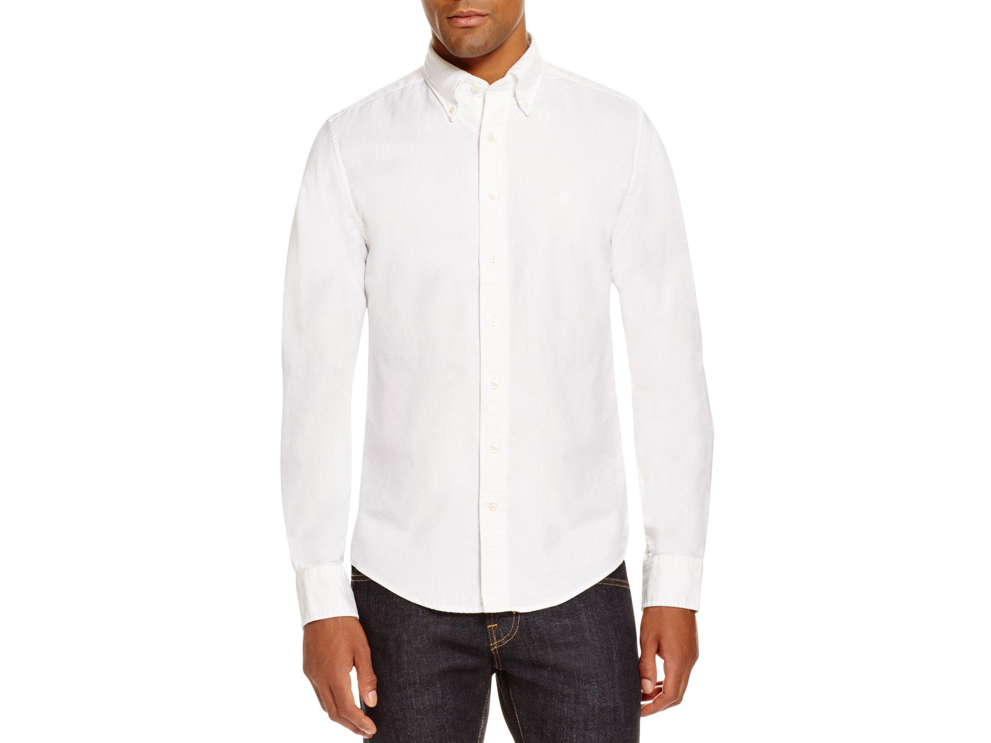 Gant perfect oxford slim fit button down shirt in white for Slim fit white button down shirt