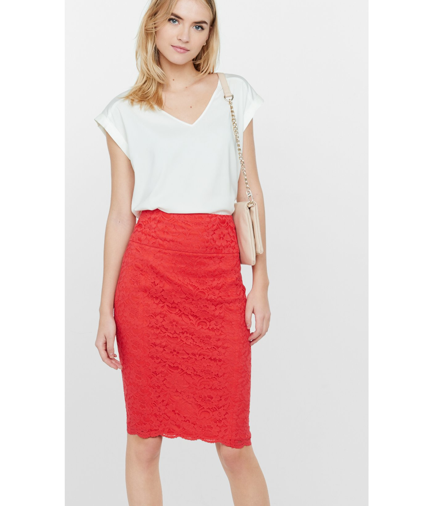 Express Bright Red High Waisted Lace Midi Pencil Skirt in Red | Lyst