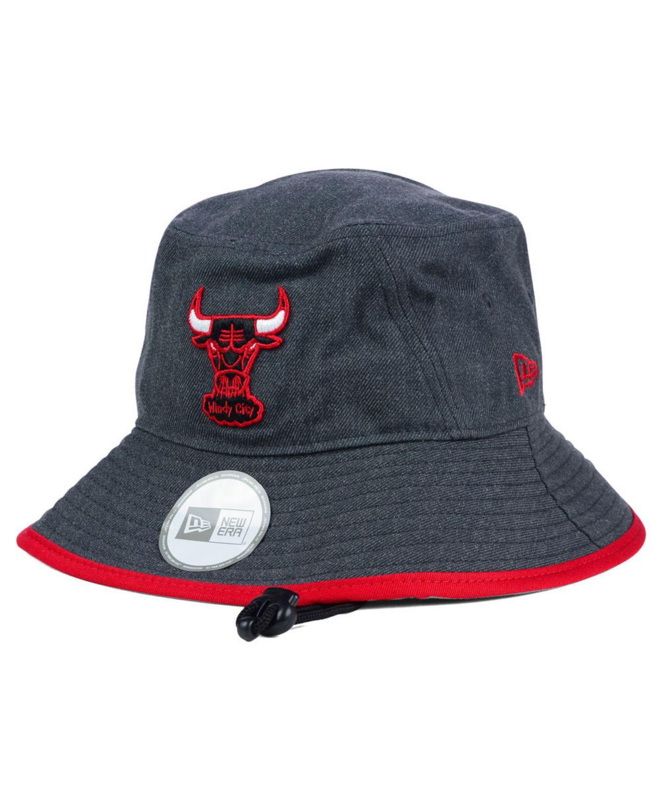 c0ee53578483d KTZ Gray Chicago Bulls Dark Heather Tipped Bucket Hat for men