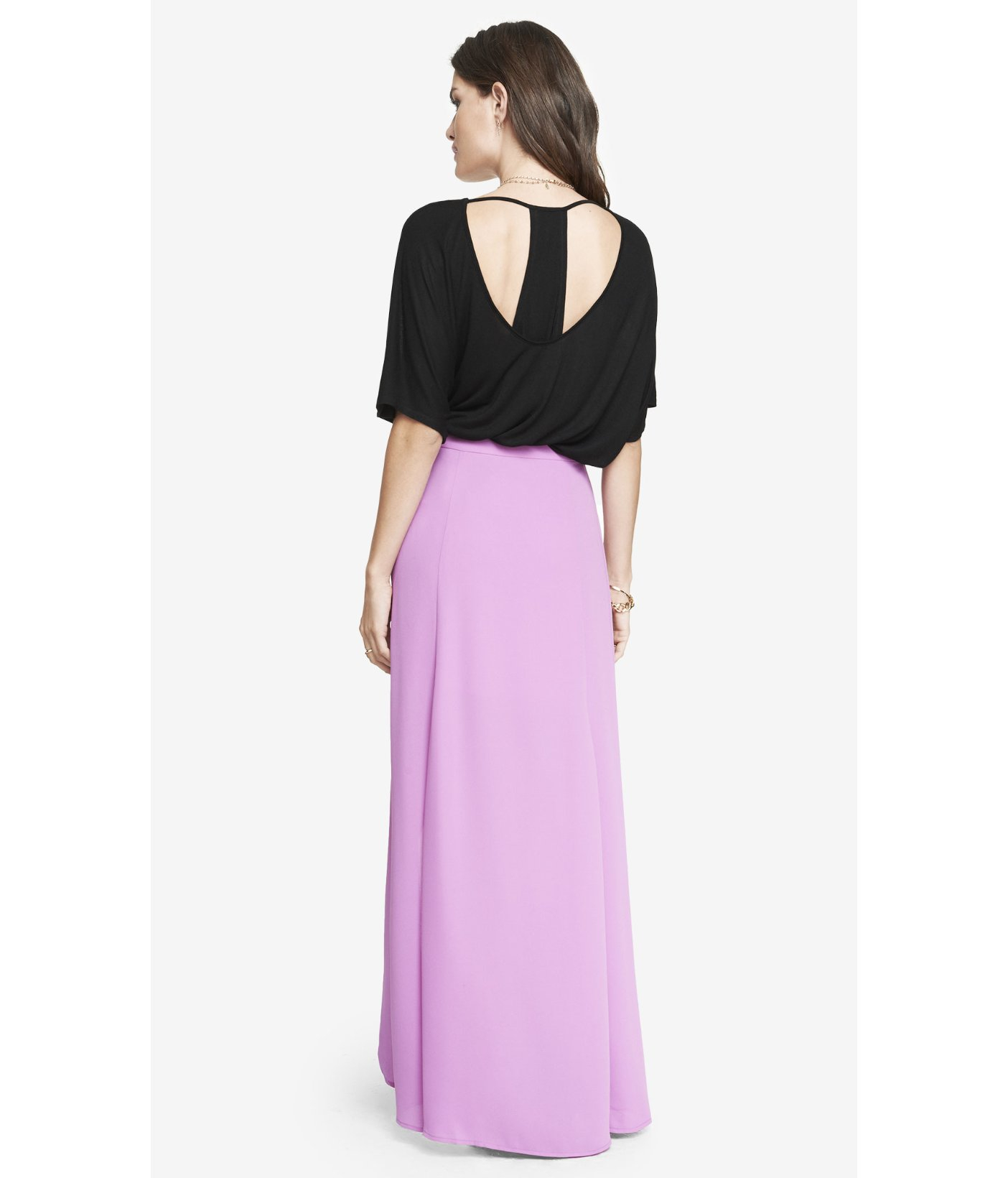 express high waisted wrap maxi skirt magenta in purple
