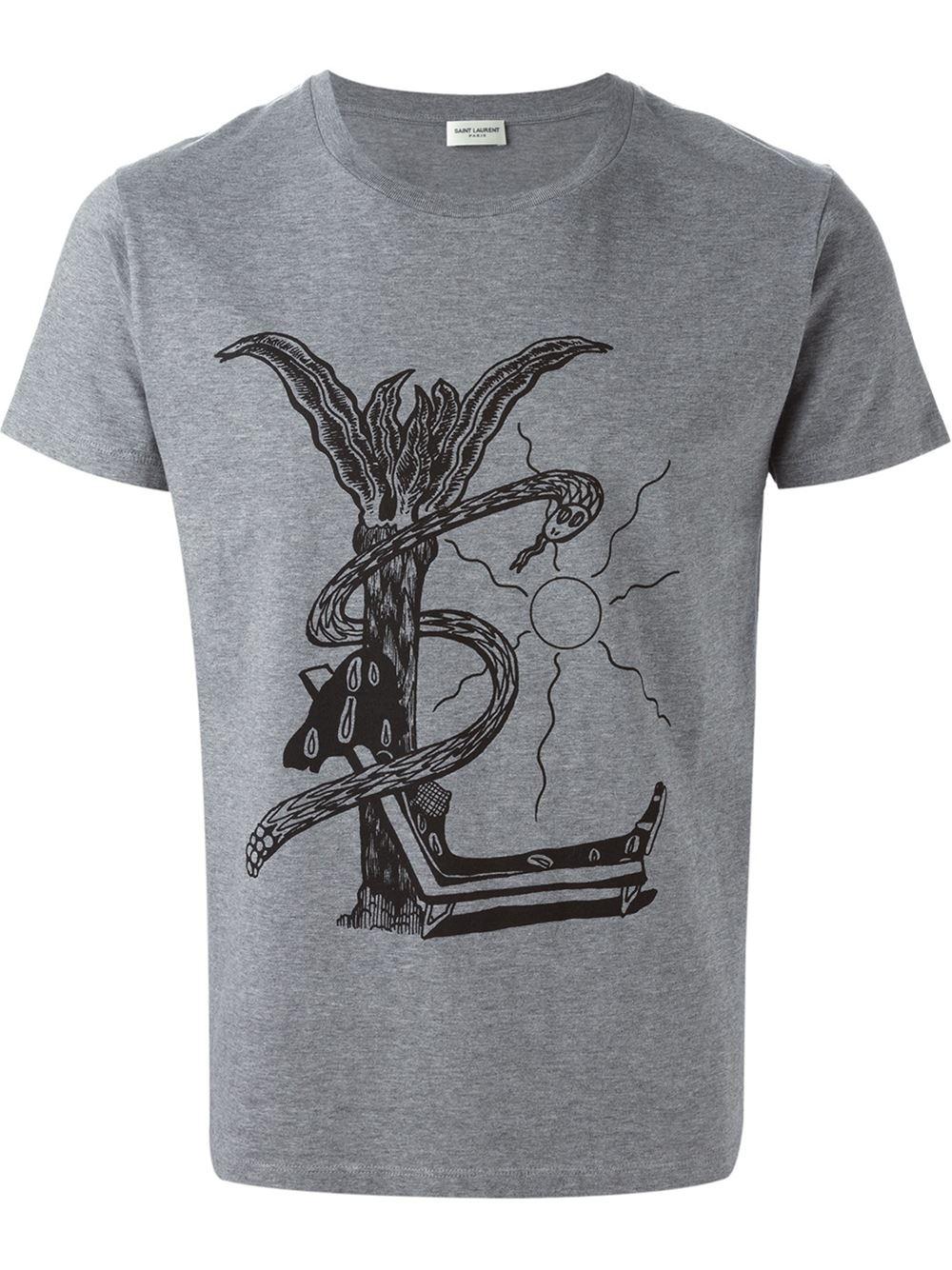 Saint laurent abstract logo print t shirt in gray for men for Saint laurent t shirt