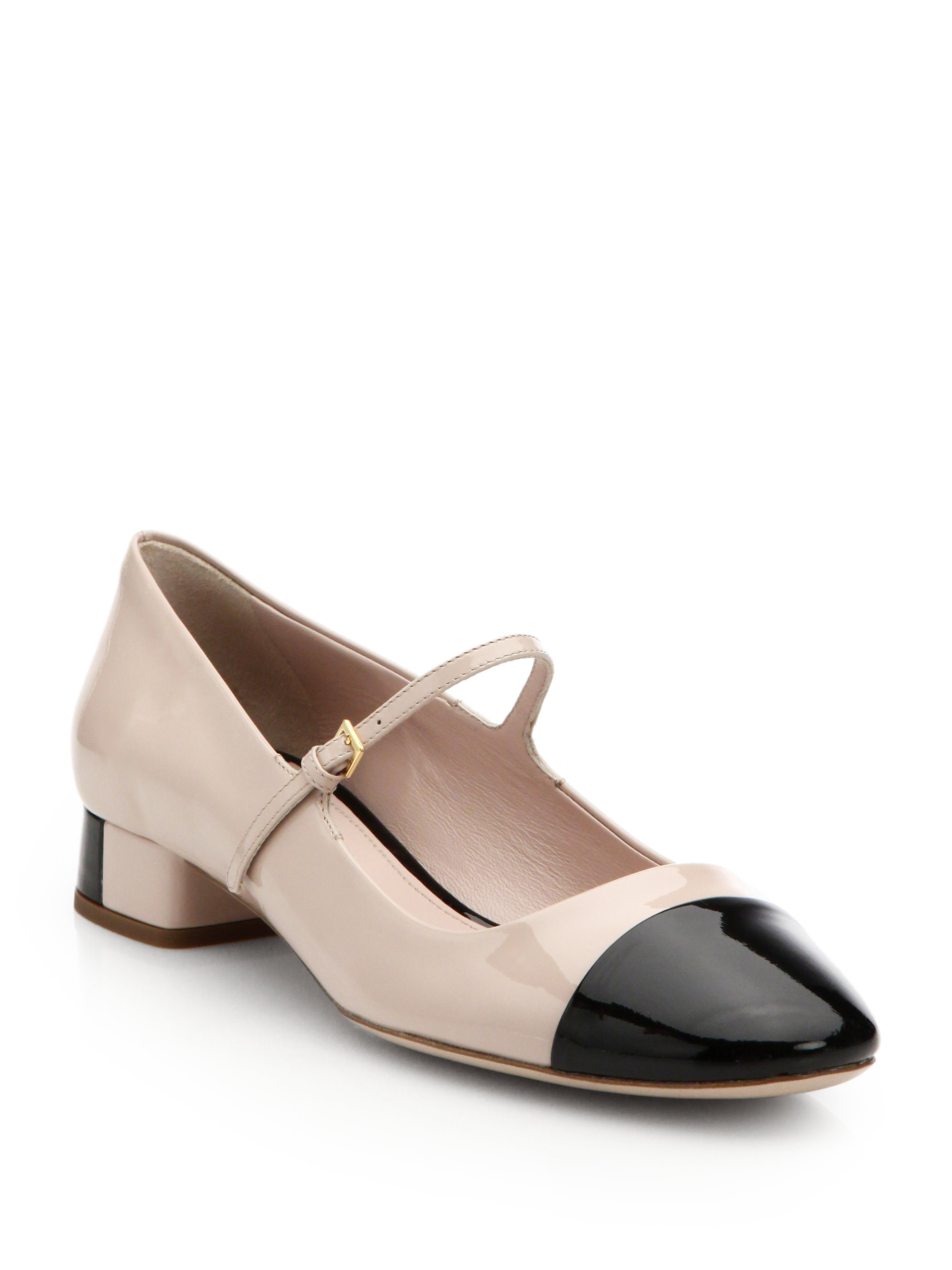Lyst - Miu Miu Bicolor Patent Leather Mary Jane Pumps in Natural