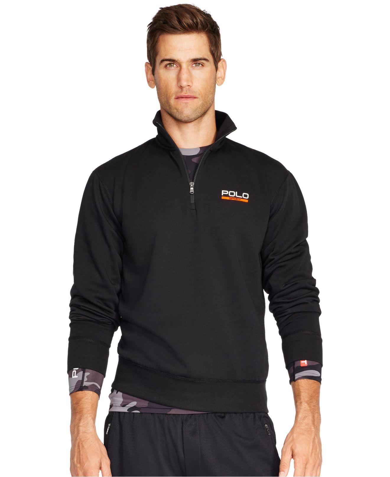 polo ralph lauren fleece half zip pullover in black for men lyst. Black Bedroom Furniture Sets. Home Design Ideas