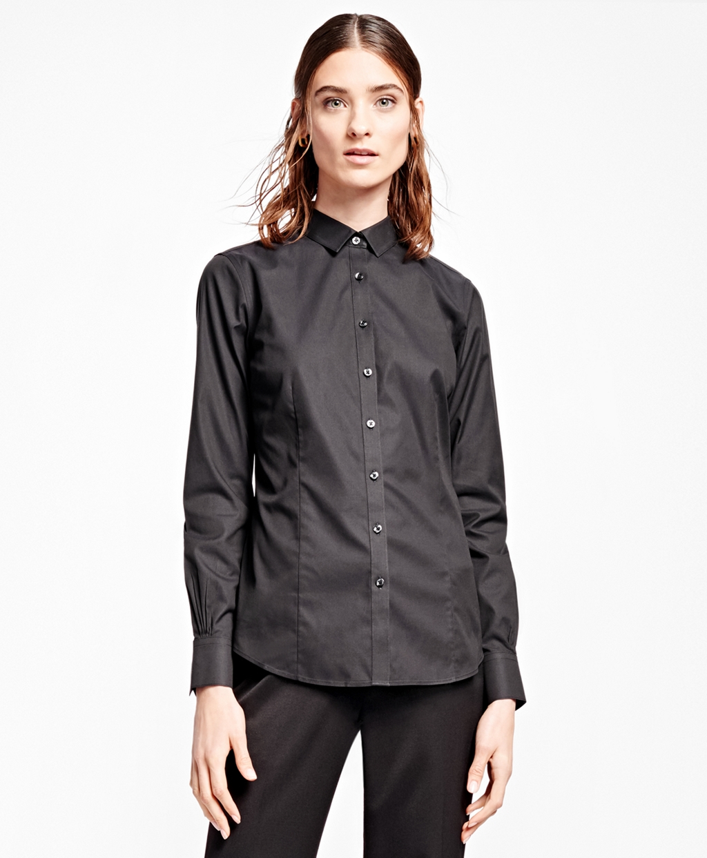 Brooks brothers petite non iron tailored fit dress shirt for Tailored fit dress shirts