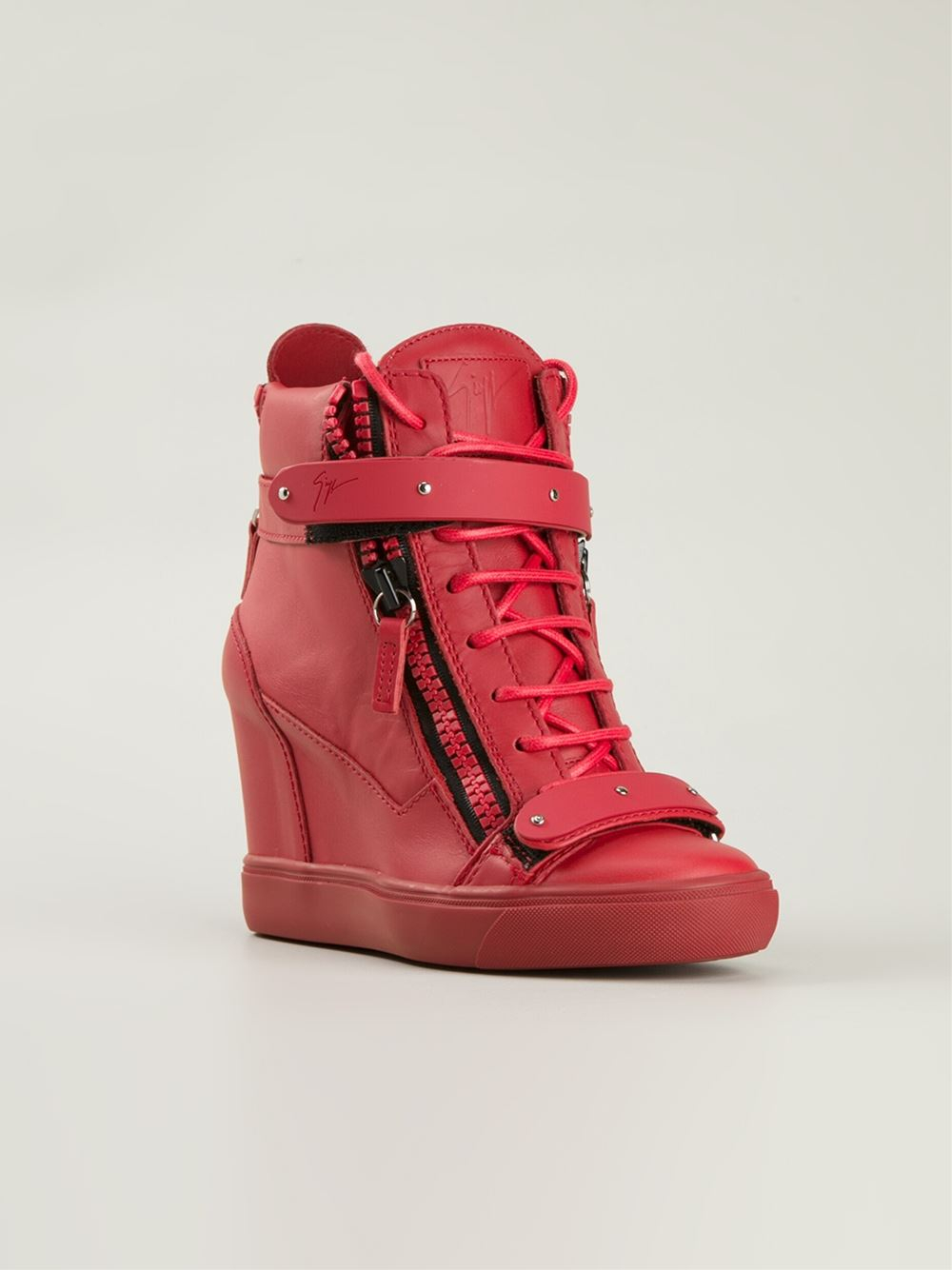 high wedge shoes red - photo #12