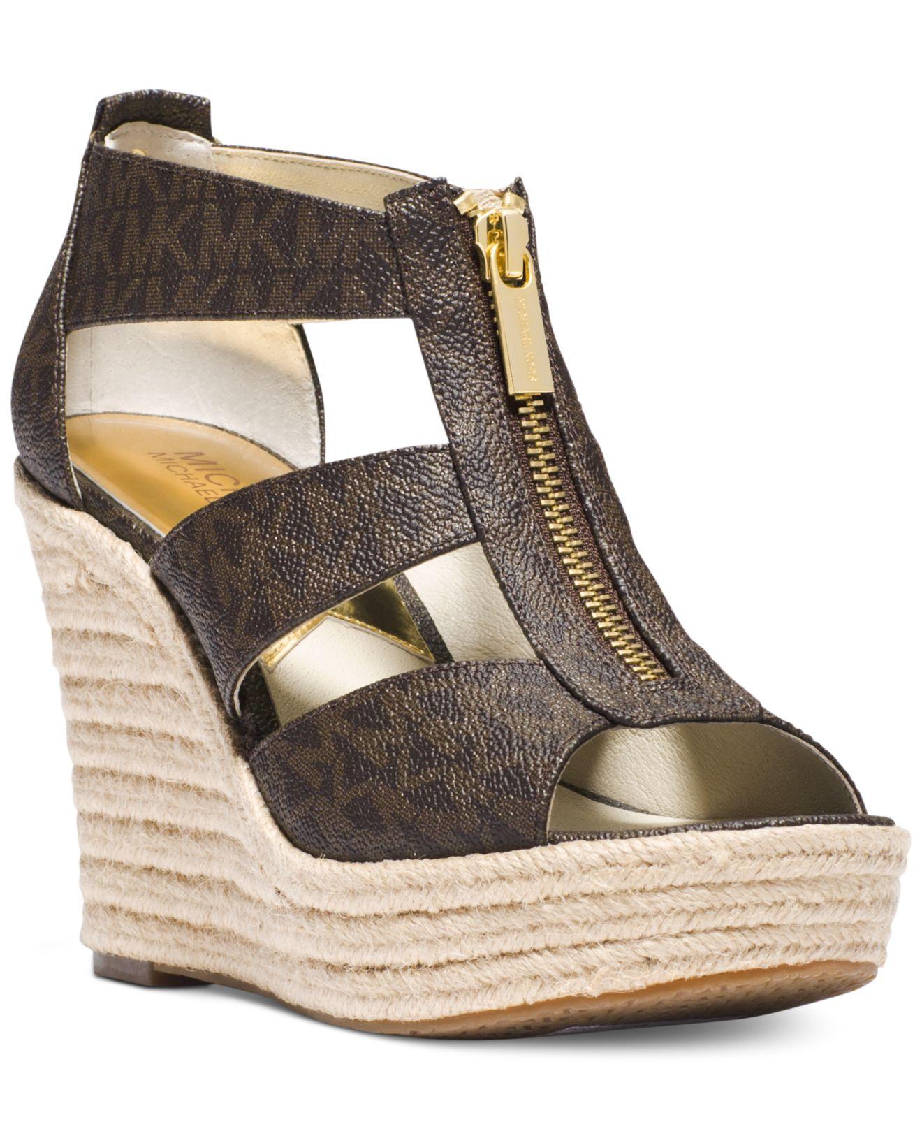 Lyst - Michael Kors Michael Damita Platform Wedge Sandals ...