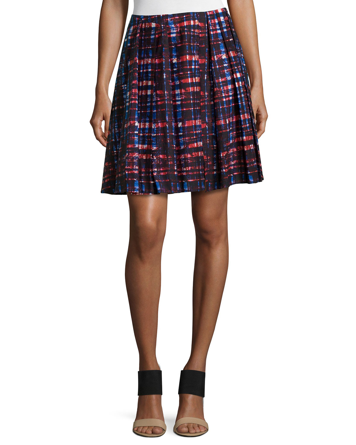 risto pleated plaid skirt in forest poplin lyst