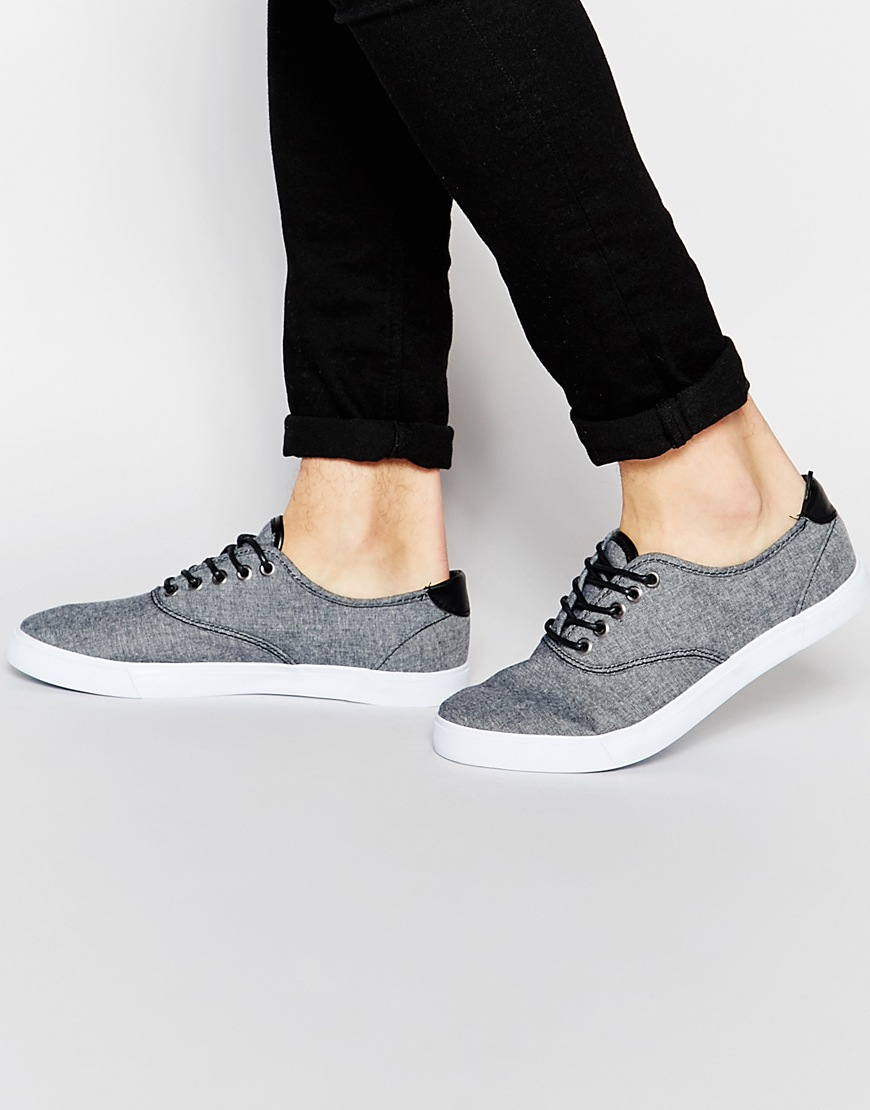 DESIGN Slip On Plimsolls In Black Chambray With Stampdown Heel - Black Asos qULhoSa
