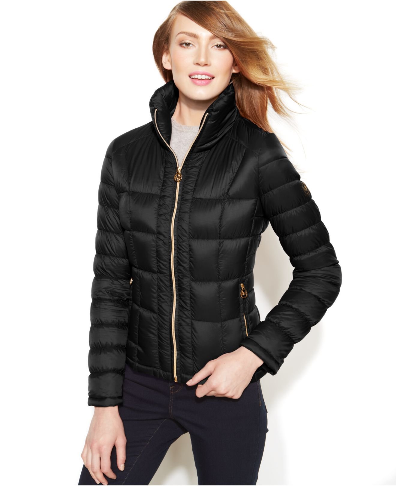 michael kors michael packable quilted down puffer coat in black lyst. Black Bedroom Furniture Sets. Home Design Ideas