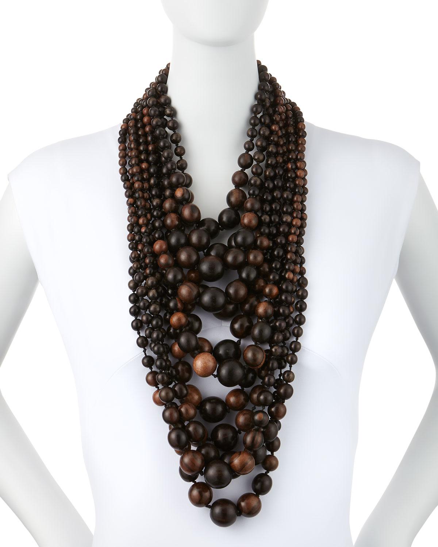 Viktoria Hayman Multi Tier Tiger Wood Bead Necklace In