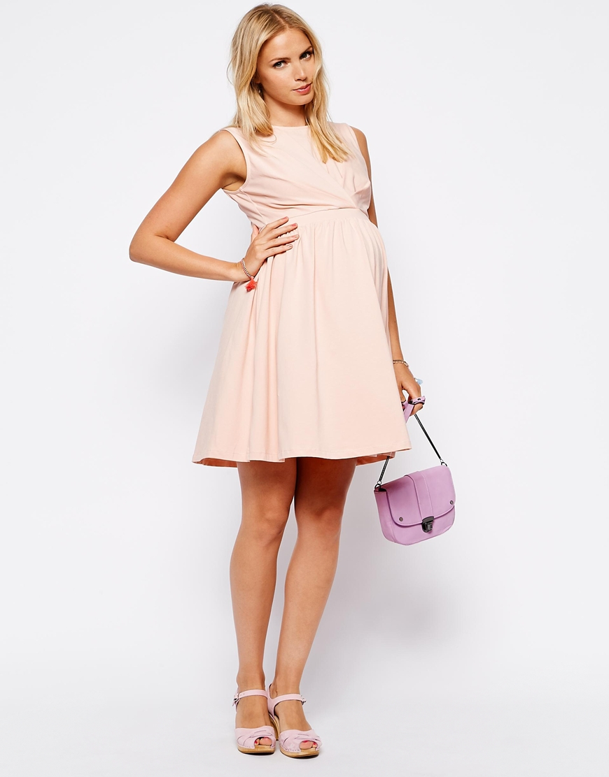 Asos exclusive skater dress with pleat detail bodice in pink lyst gallery ombrellifo Choice Image