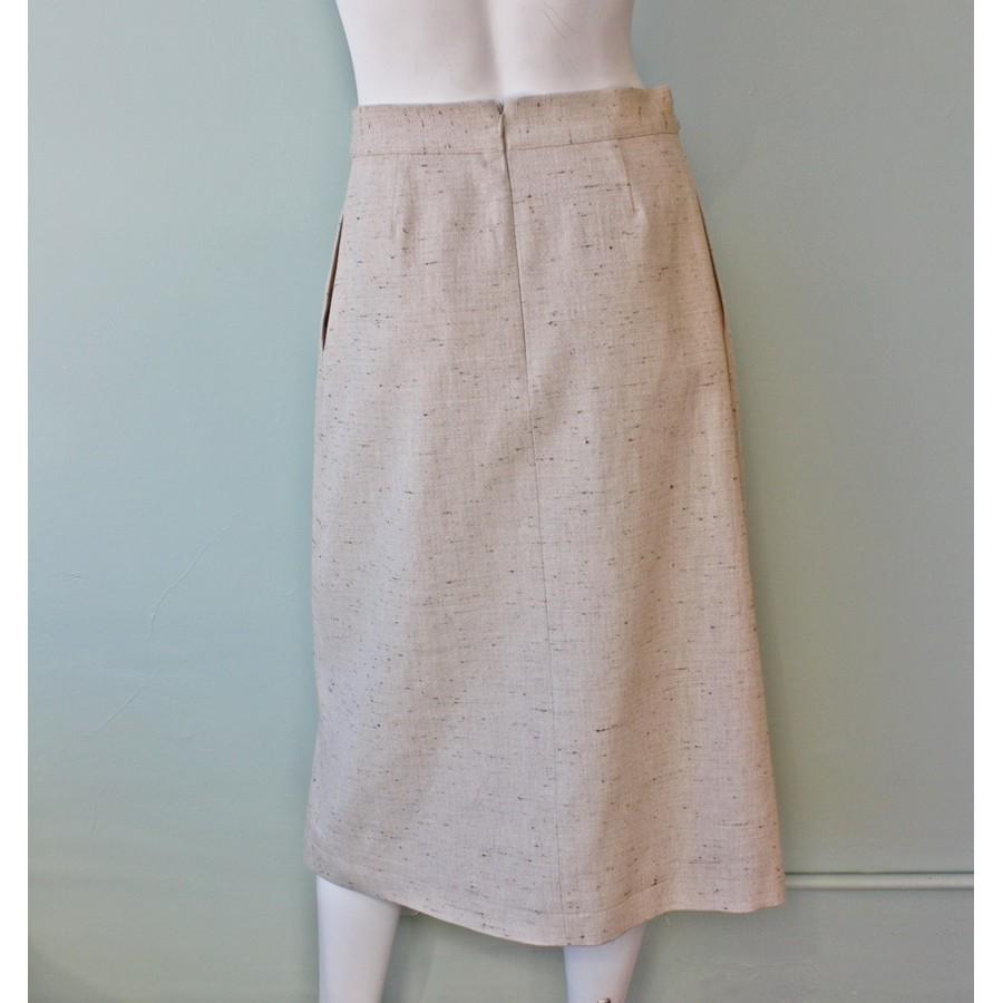 sea denim tweed slit skirt in lyst