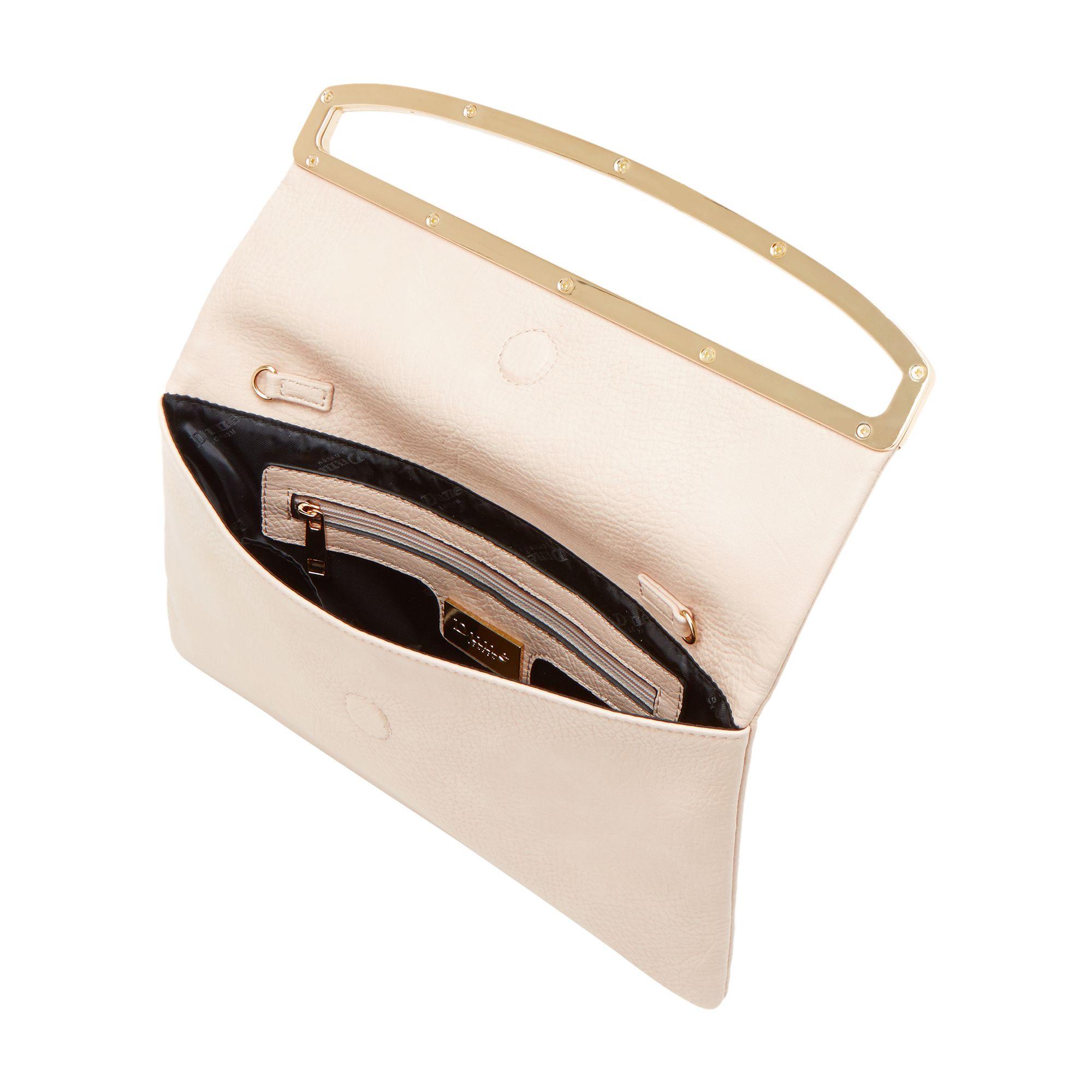 Dune Emilia Frame Detail Foldover Clutch Bag In Natural Lyst