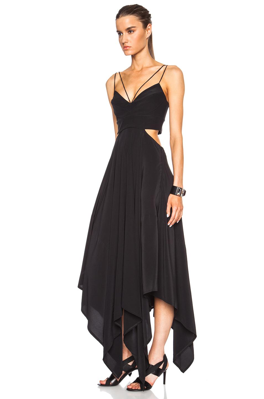 Lyst Nicholas Bonded Silk Scarf Hem Dress In Black