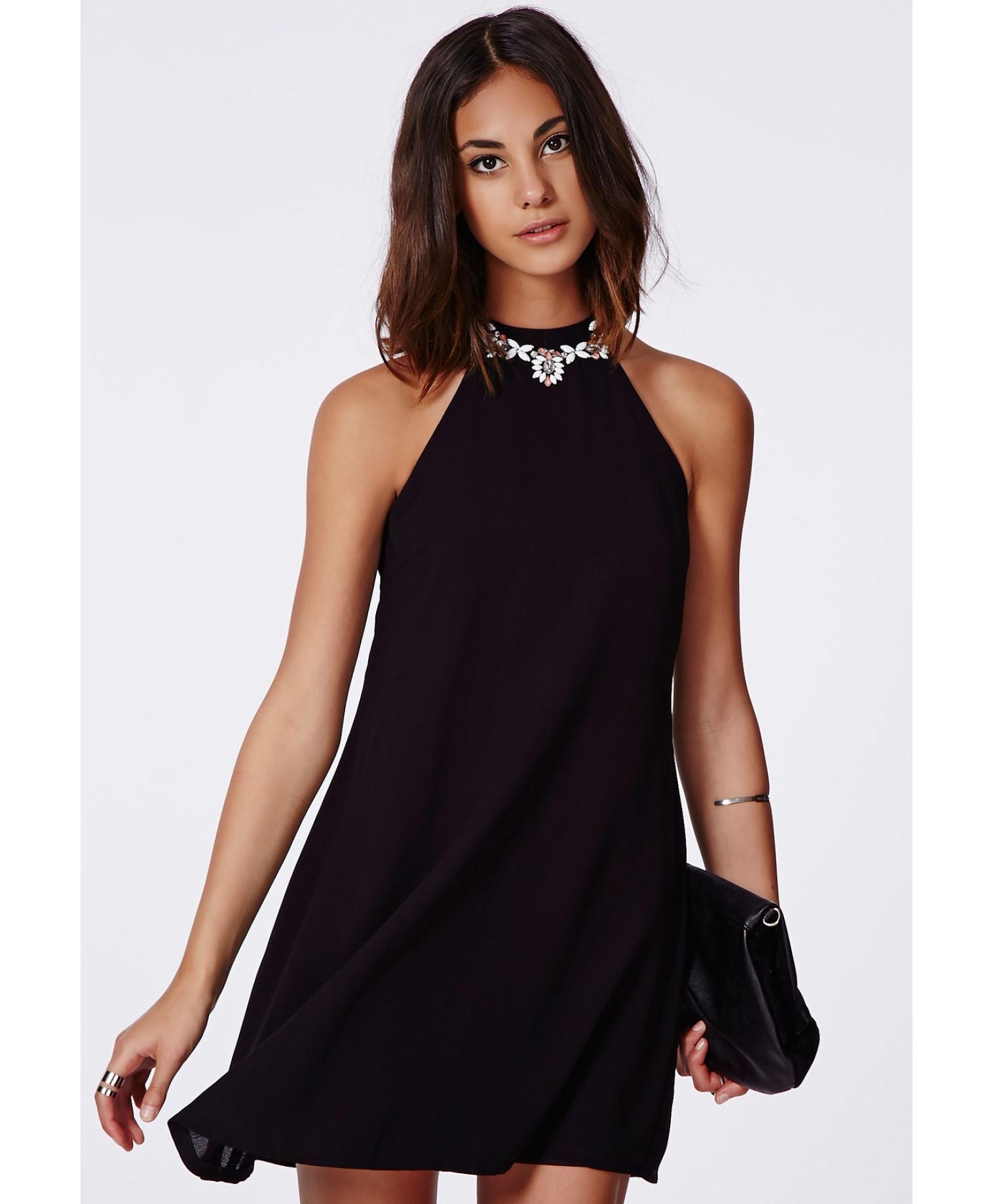 missguided nikola high neck shift dress necklace trim in