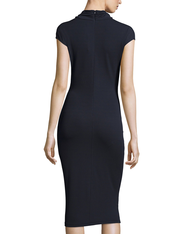 Cowl Neck Sheath Dresses: Michael Kors Cap-sleeve Cowl-neck Sheath Dress In Navy