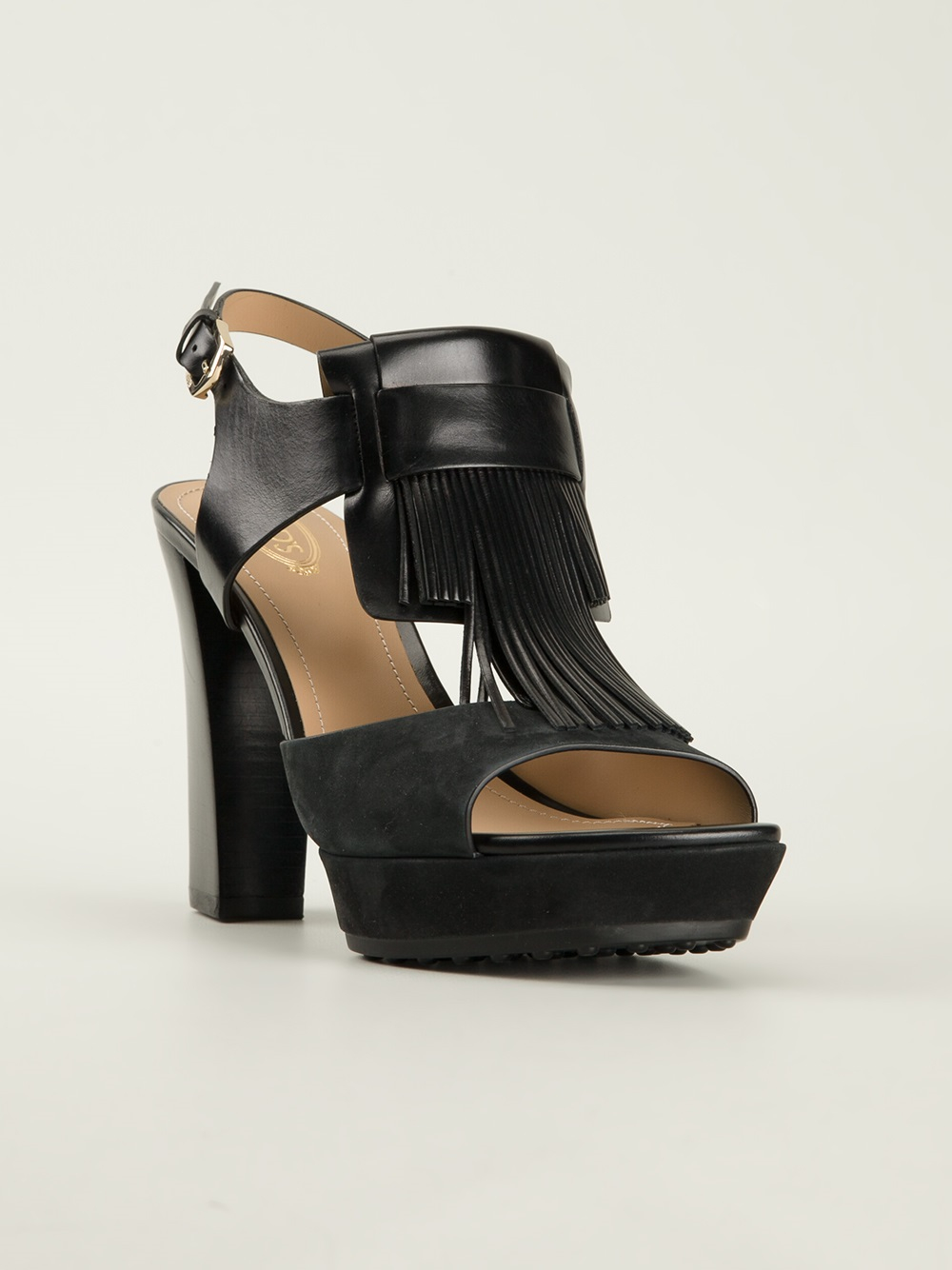 Lyst Tod S Fringed Platform Sandals In Black