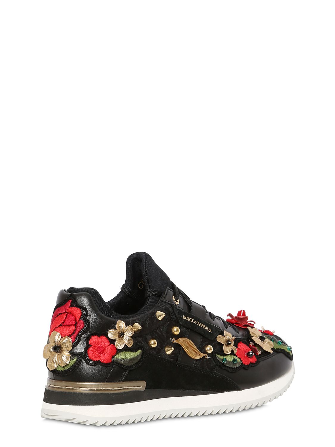 lyst dolce gabbana jacquard nappa leather sneakers in black. Black Bedroom Furniture Sets. Home Design Ideas